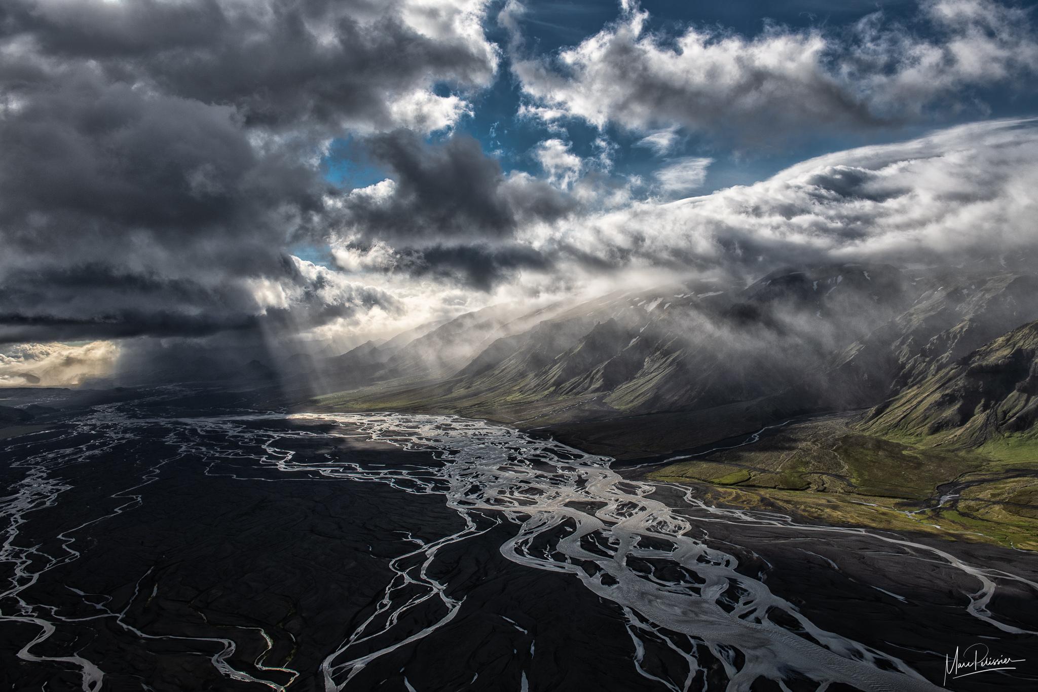 Storm toward Thorsmork, Iceland