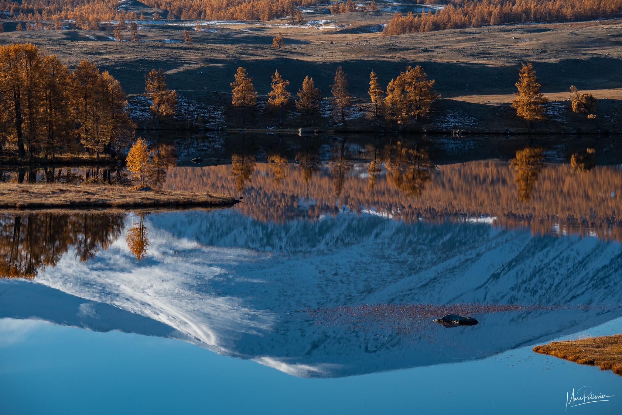 Sunrise fall colors in Altai Tavan Bogd, Mongolia