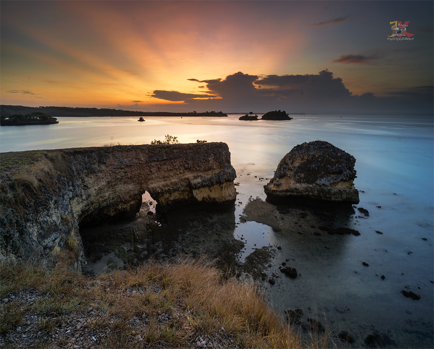 Sunset at Pink beach lombok, Indonesia