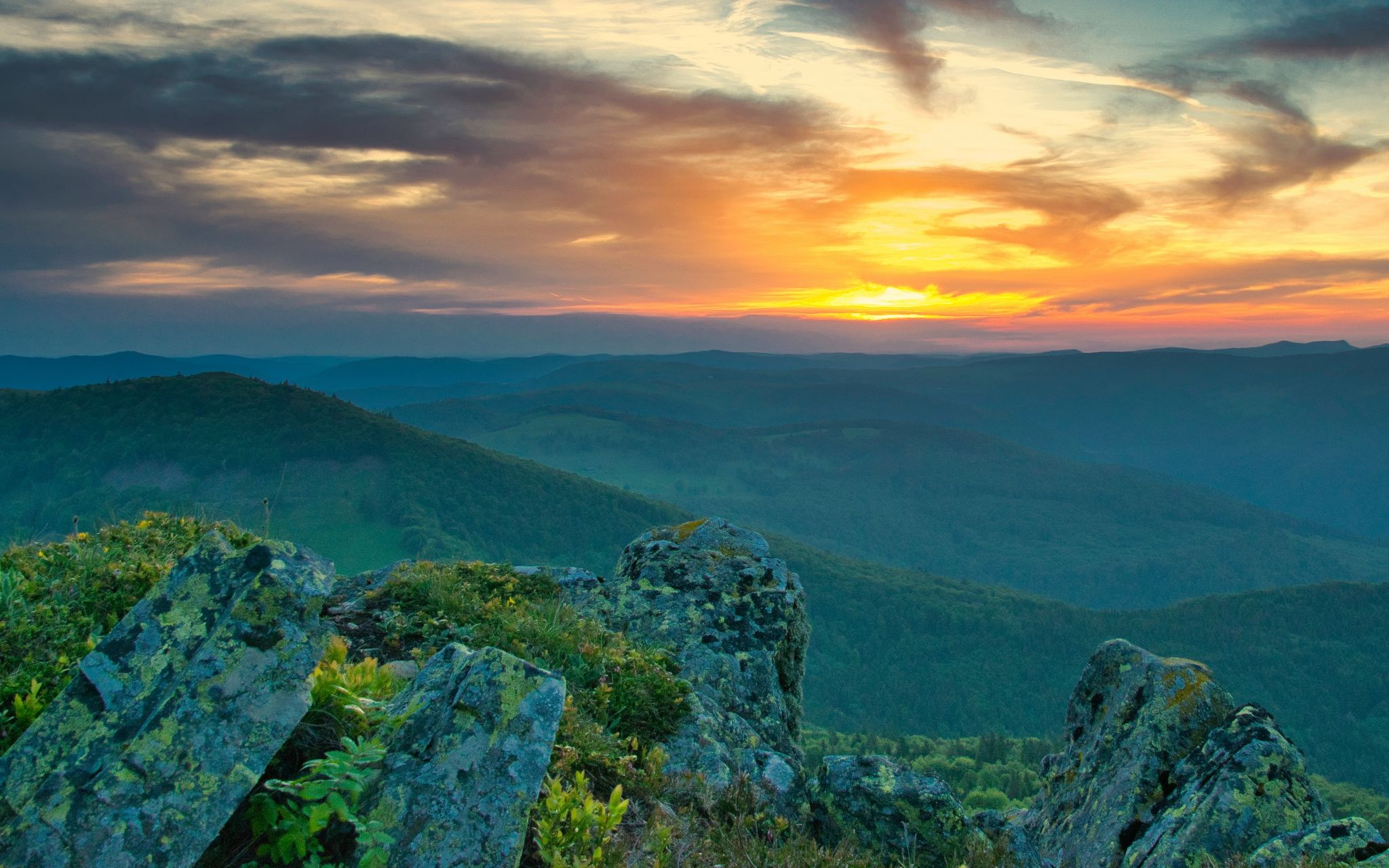 Sunset over French Vosges, France