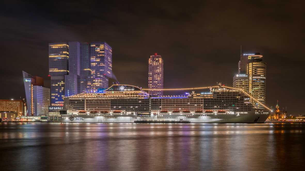 View at Skyline and Cruise terminal Rotterdam, Netherlands