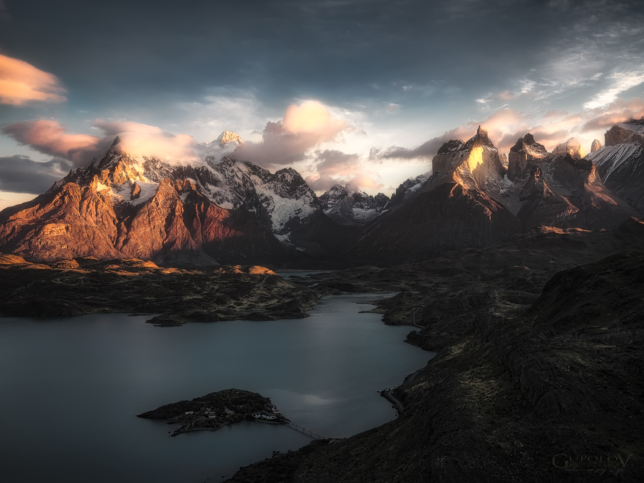 View of the Torres del Paine Mountains and Lake Pehoe, Chile