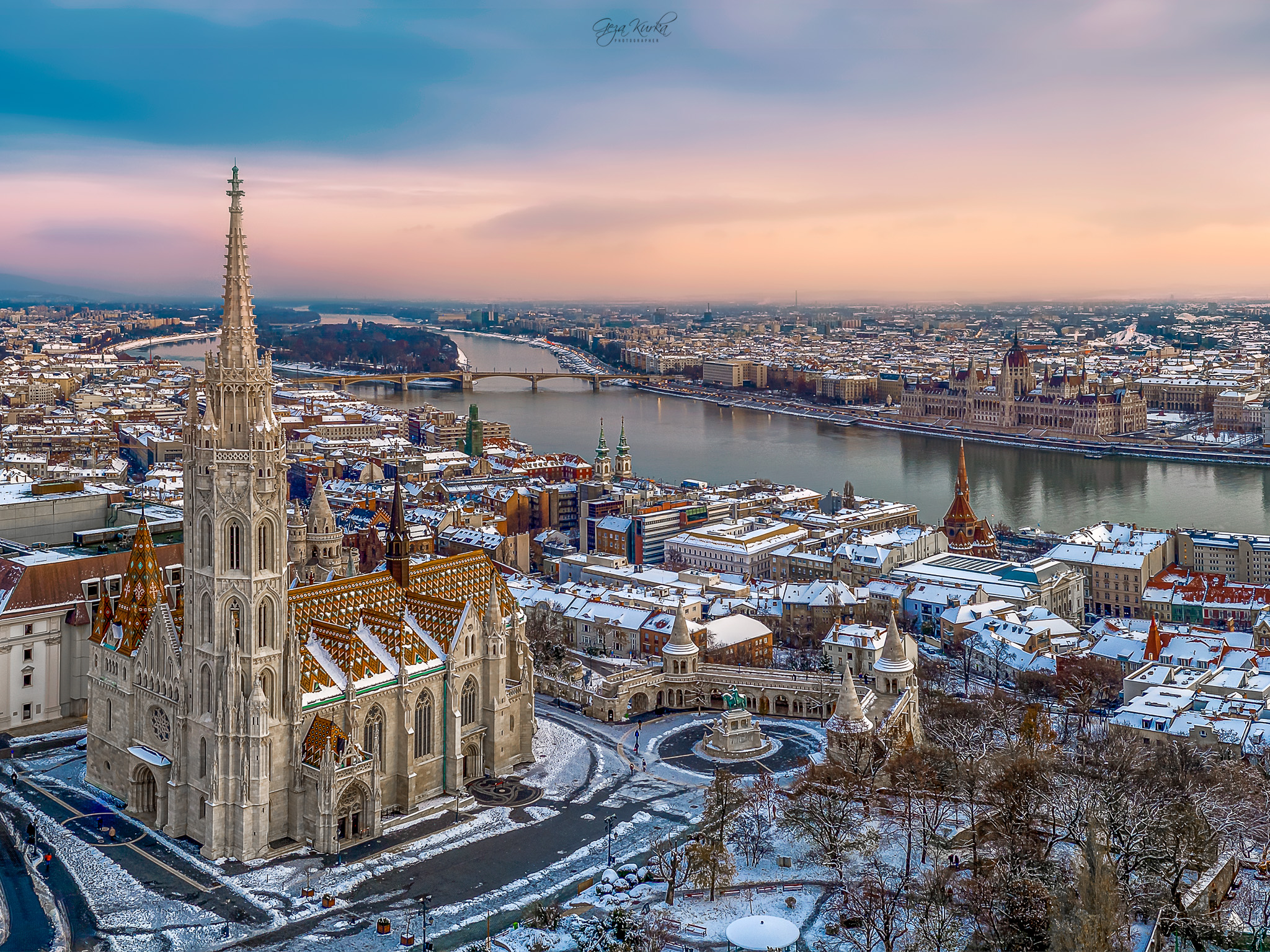 Aerial photo about a famous part of Budapest., Hungary