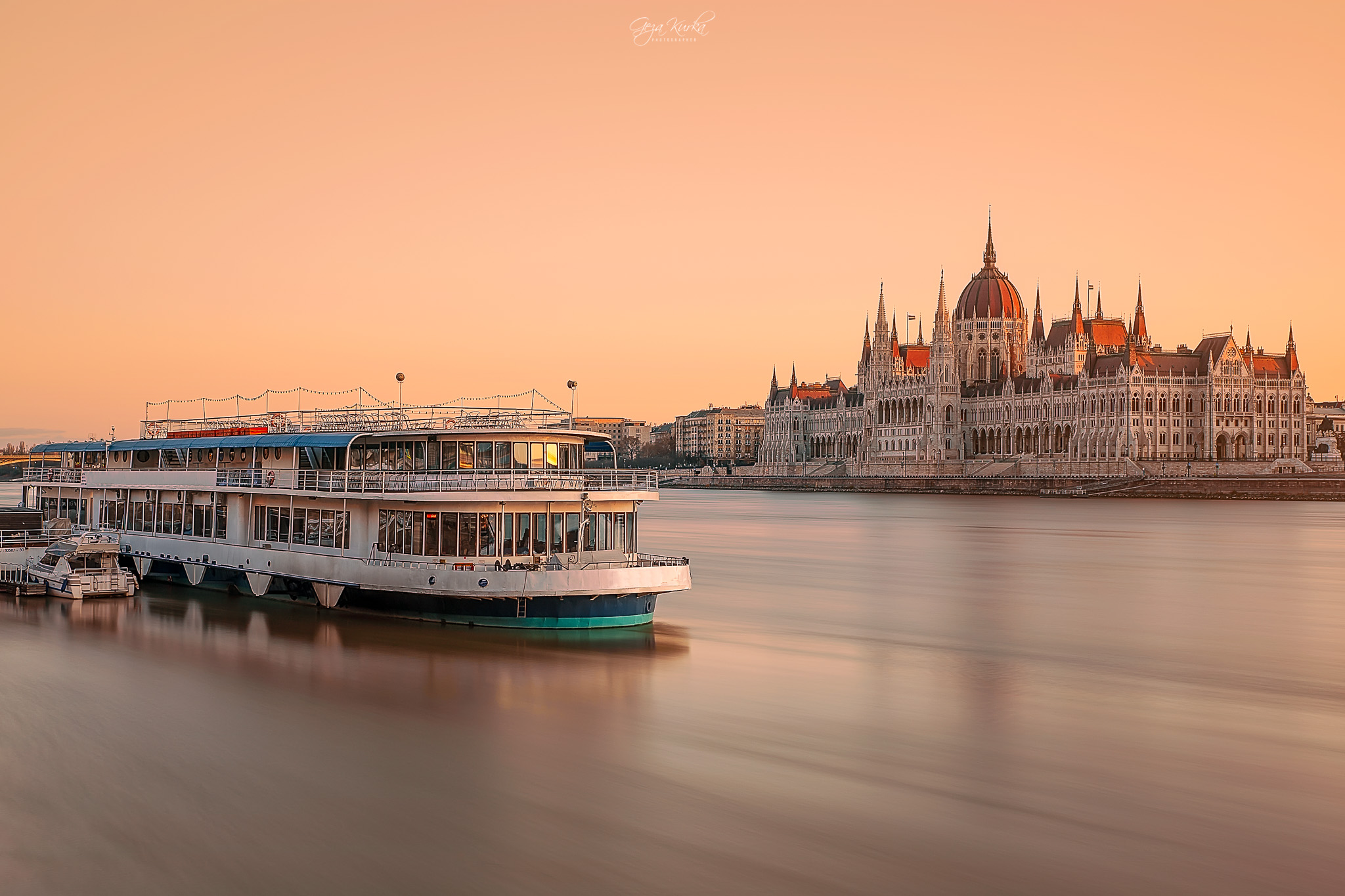 Budapest Cityscape with boat & Hungarian Parliament building, Hungary