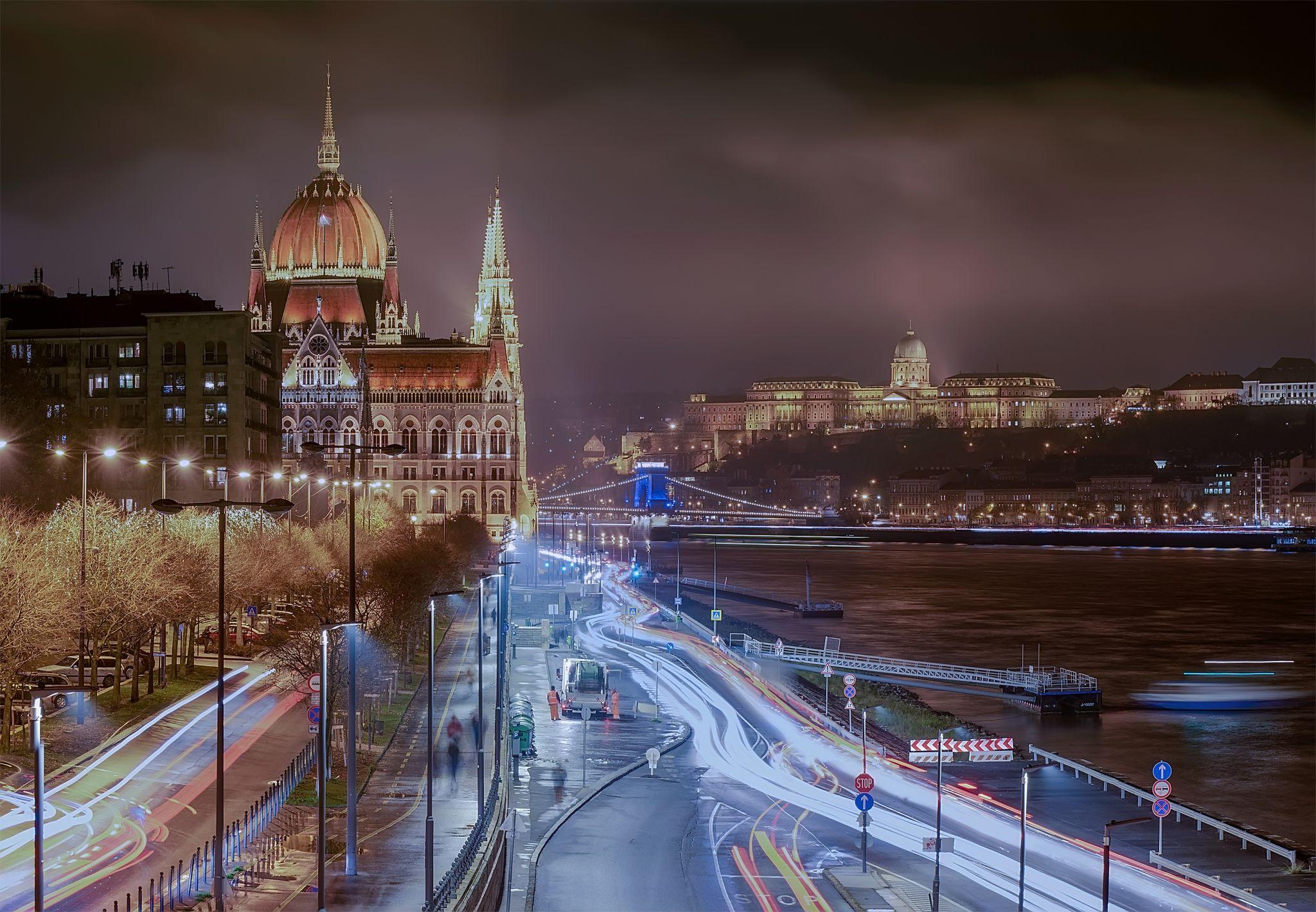 Budapest night cityscape with traffic, Hungary