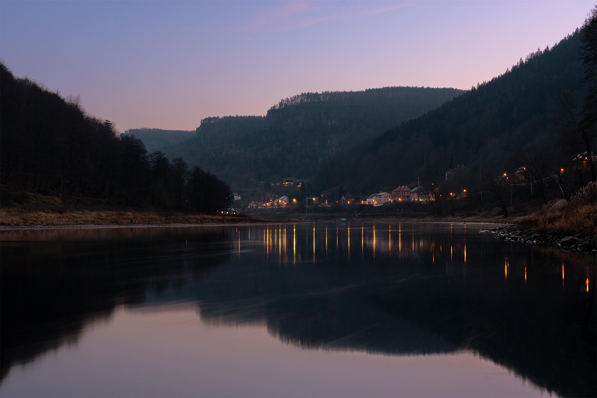 Dolní Žleb winter sunset, Czech Republic