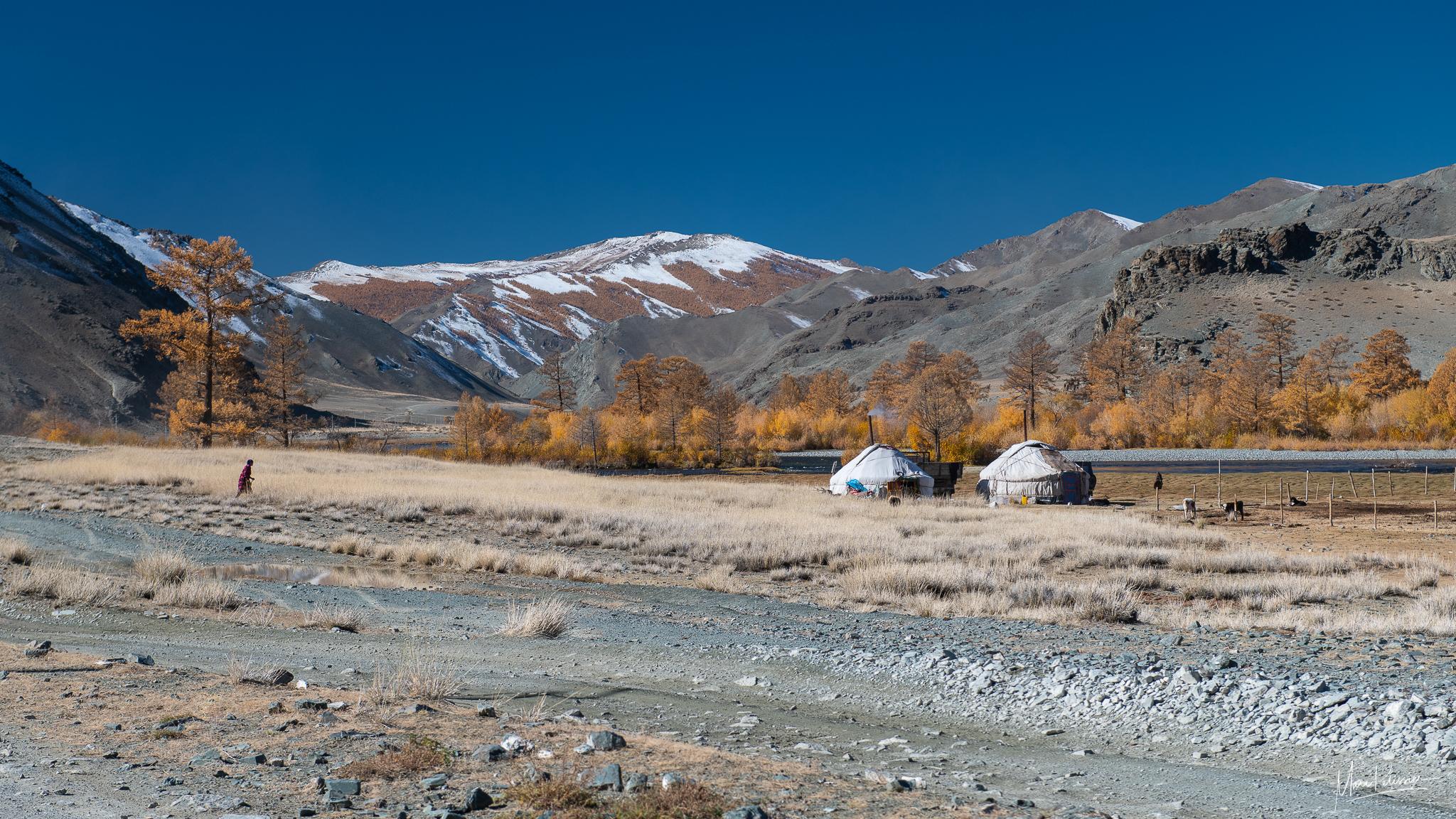 Ger tent on Tsengel road, Mongolia
