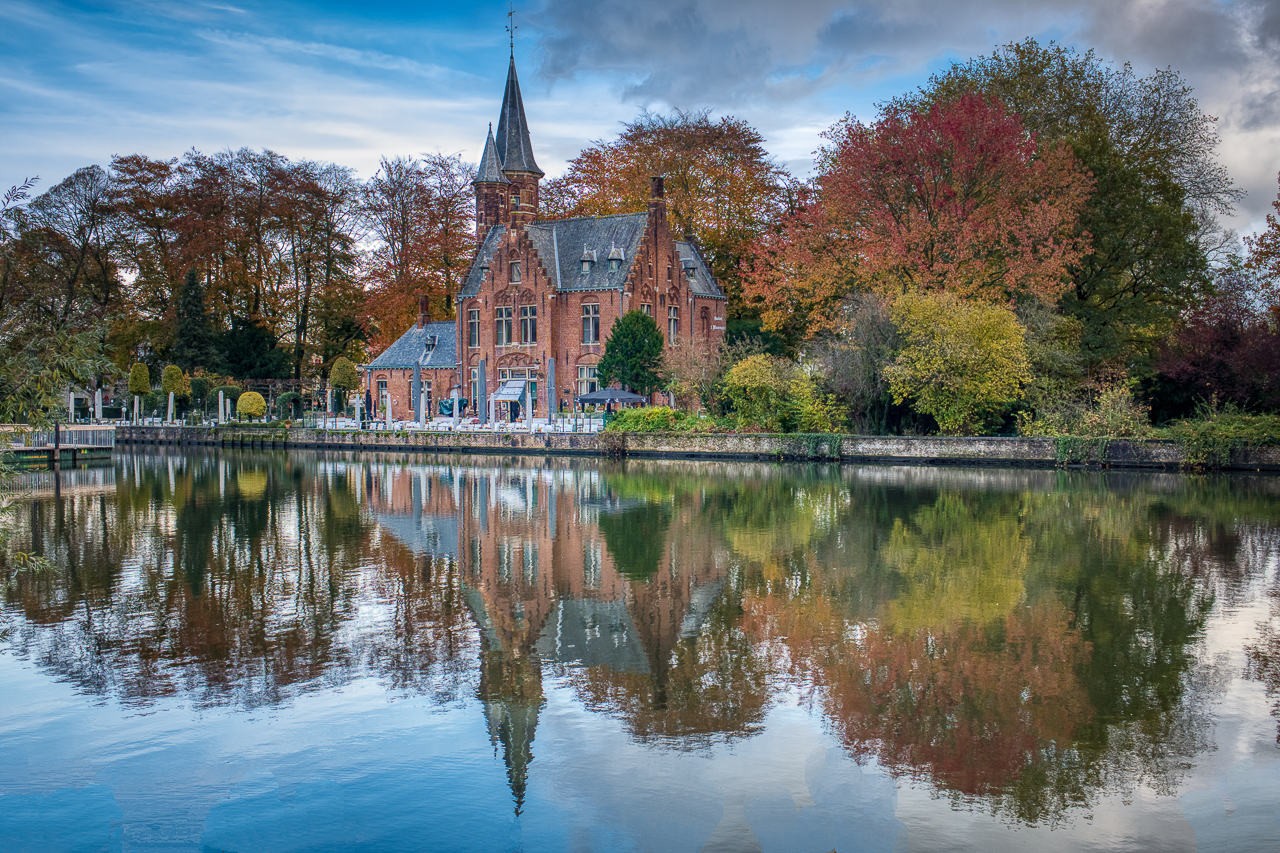 Gothic style building on Lake of Love, Belgium