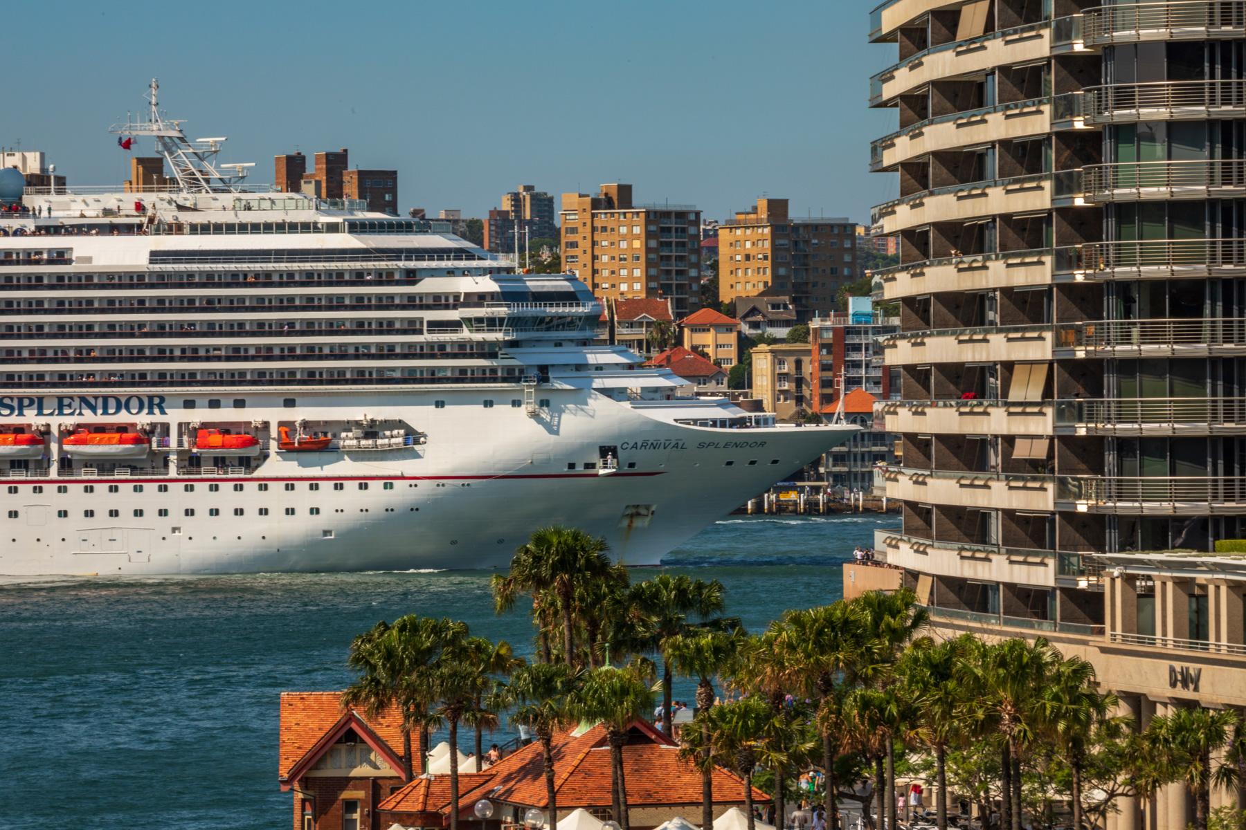 Passenger liner kissing the building, Sydney Harbour, Australia