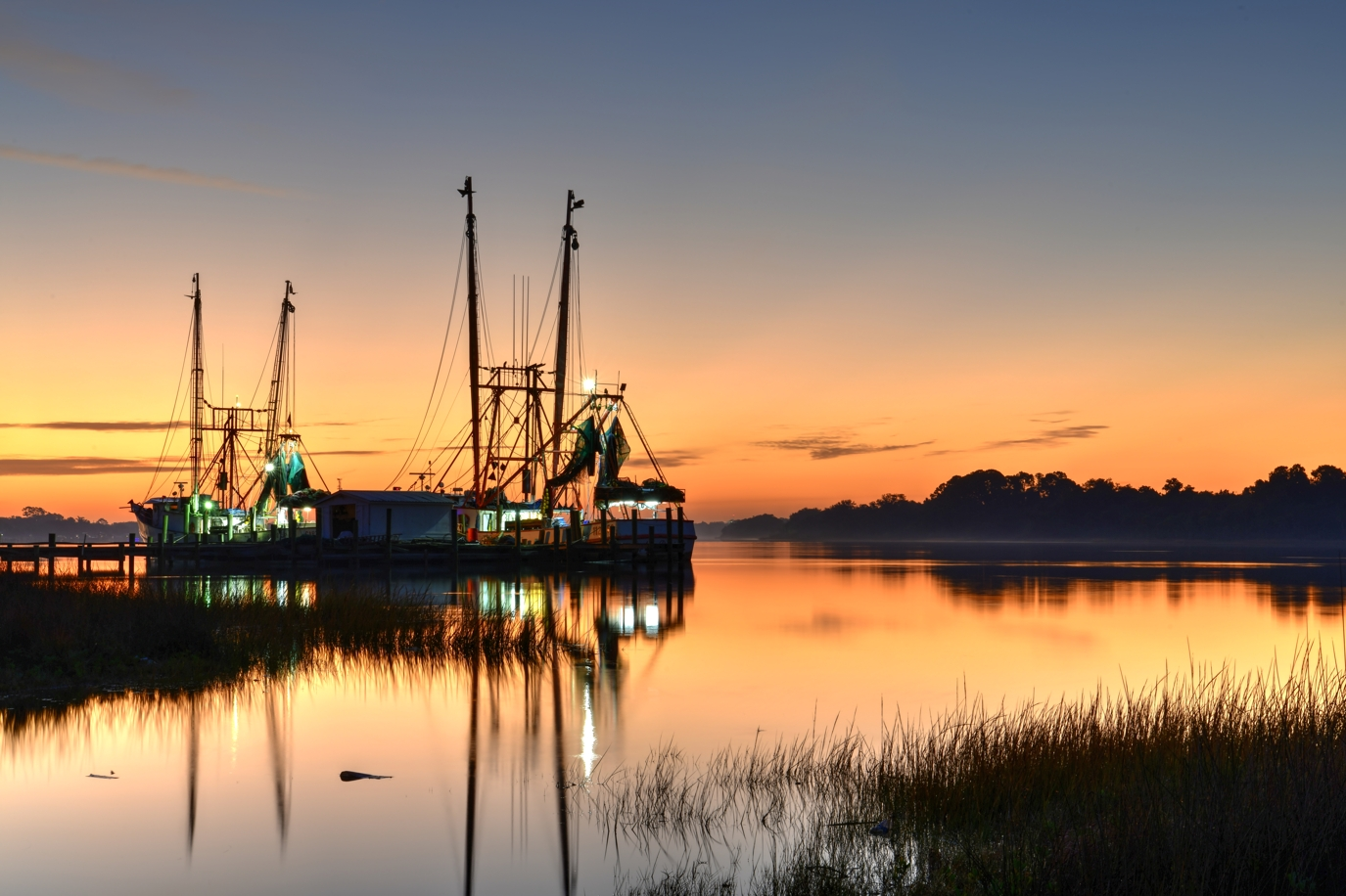 Shrimp boats on the St Johns river, USA