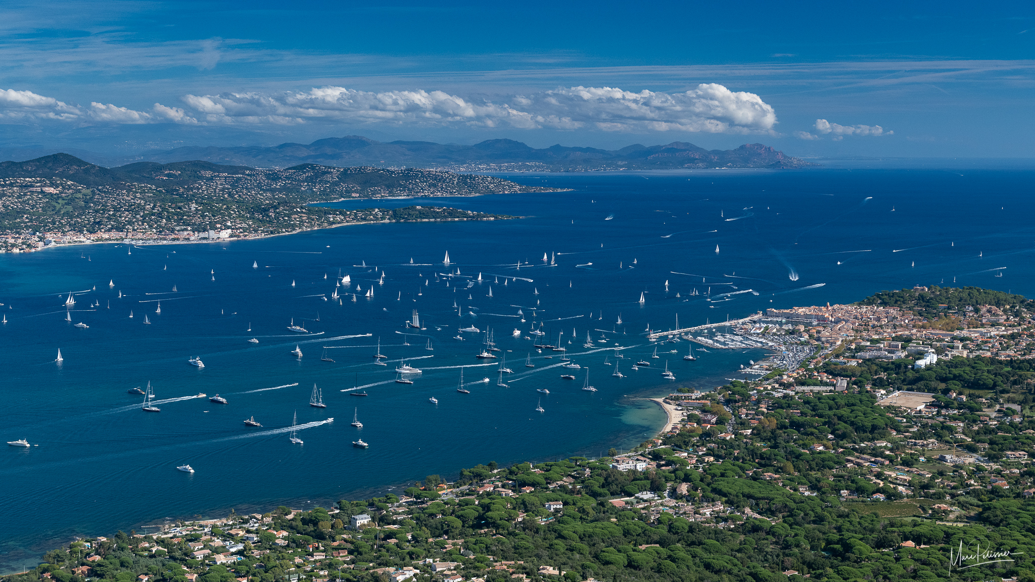 St tropez bay from above, France