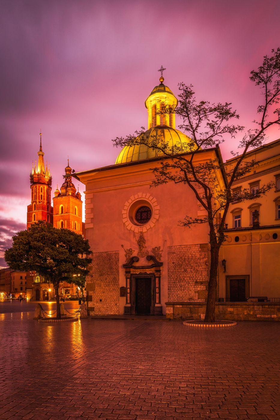 Sunrise at the St. Adalbert's Church in Kraków, Poland