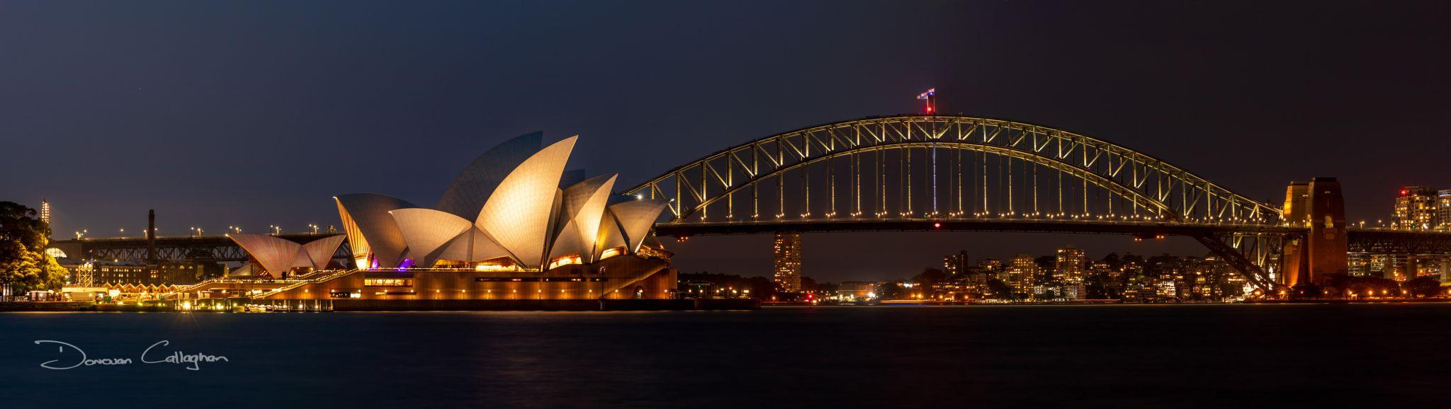 Sydney Harbour Bridge & Opera House at night, Australia