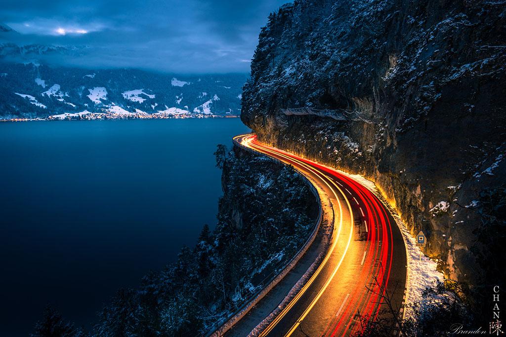Thunersee, Lake Thun, mountain road in Switzerland, Switzerland