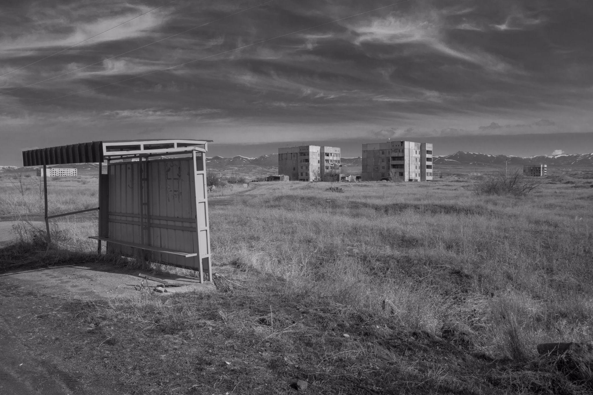 Bus stop Marmashen Highway, Armenia
