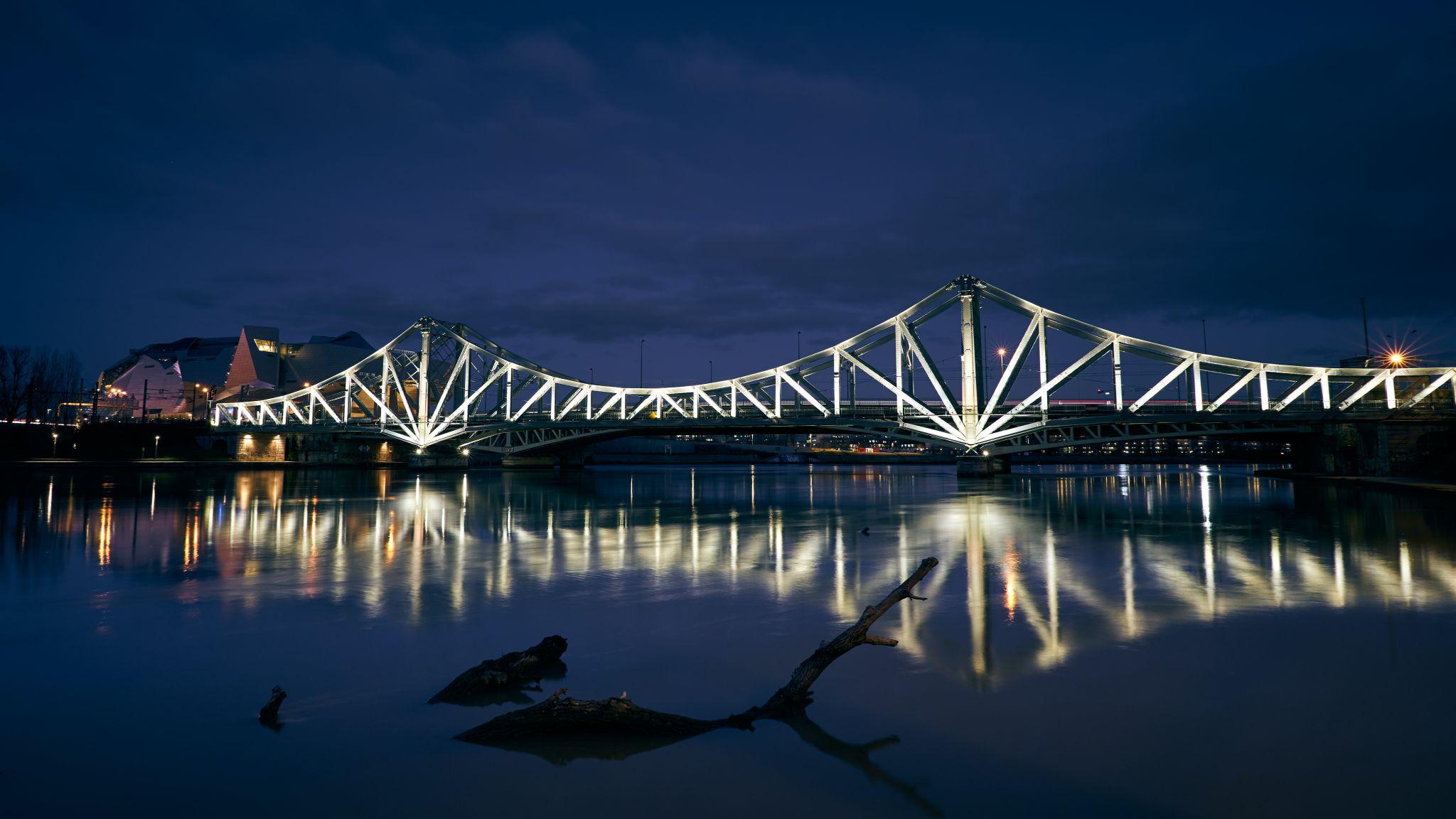 Illuminated railway bridge, France