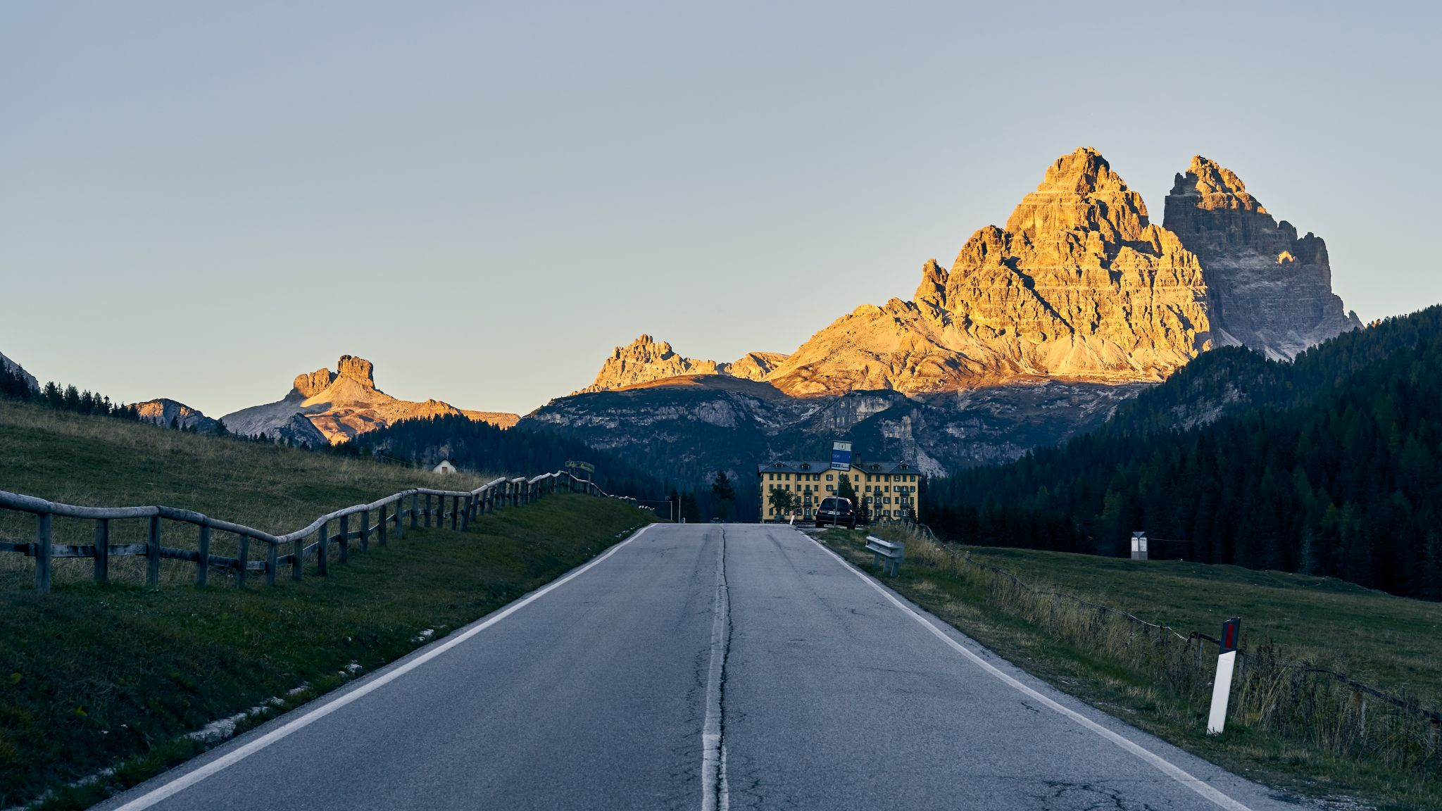 Motorway view near Misurina lake, Italy