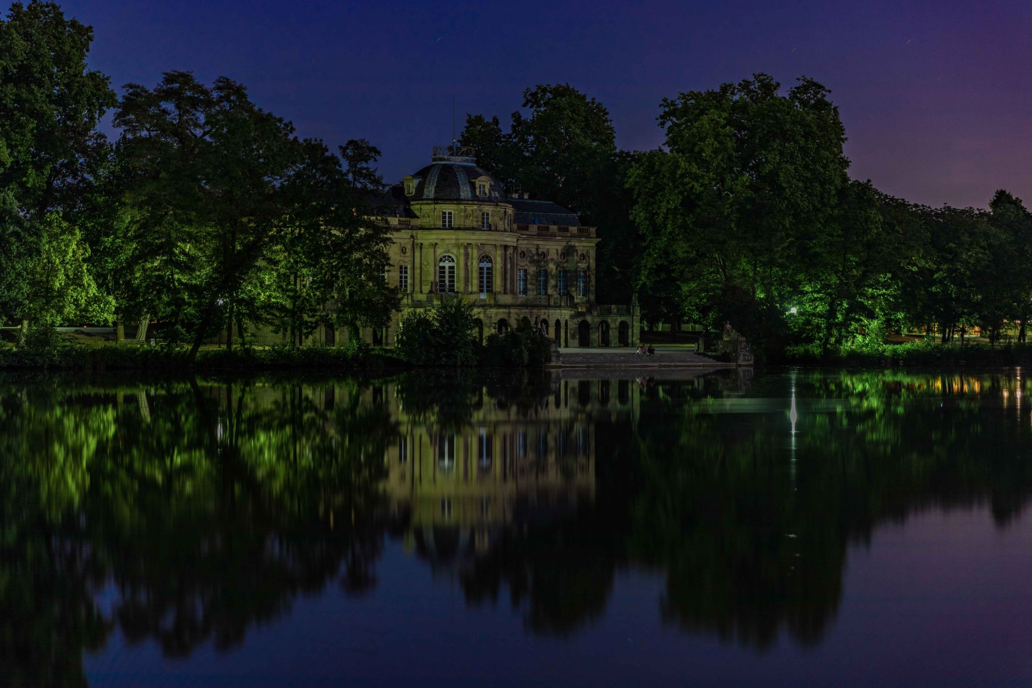Schloss Monrepos, at full moon (light), Germany