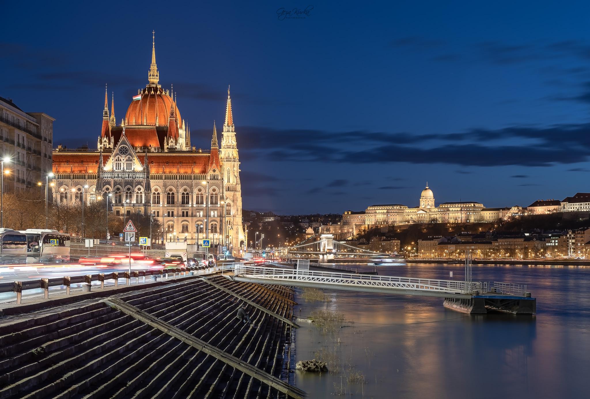 Budapest night cityscape, Hungary