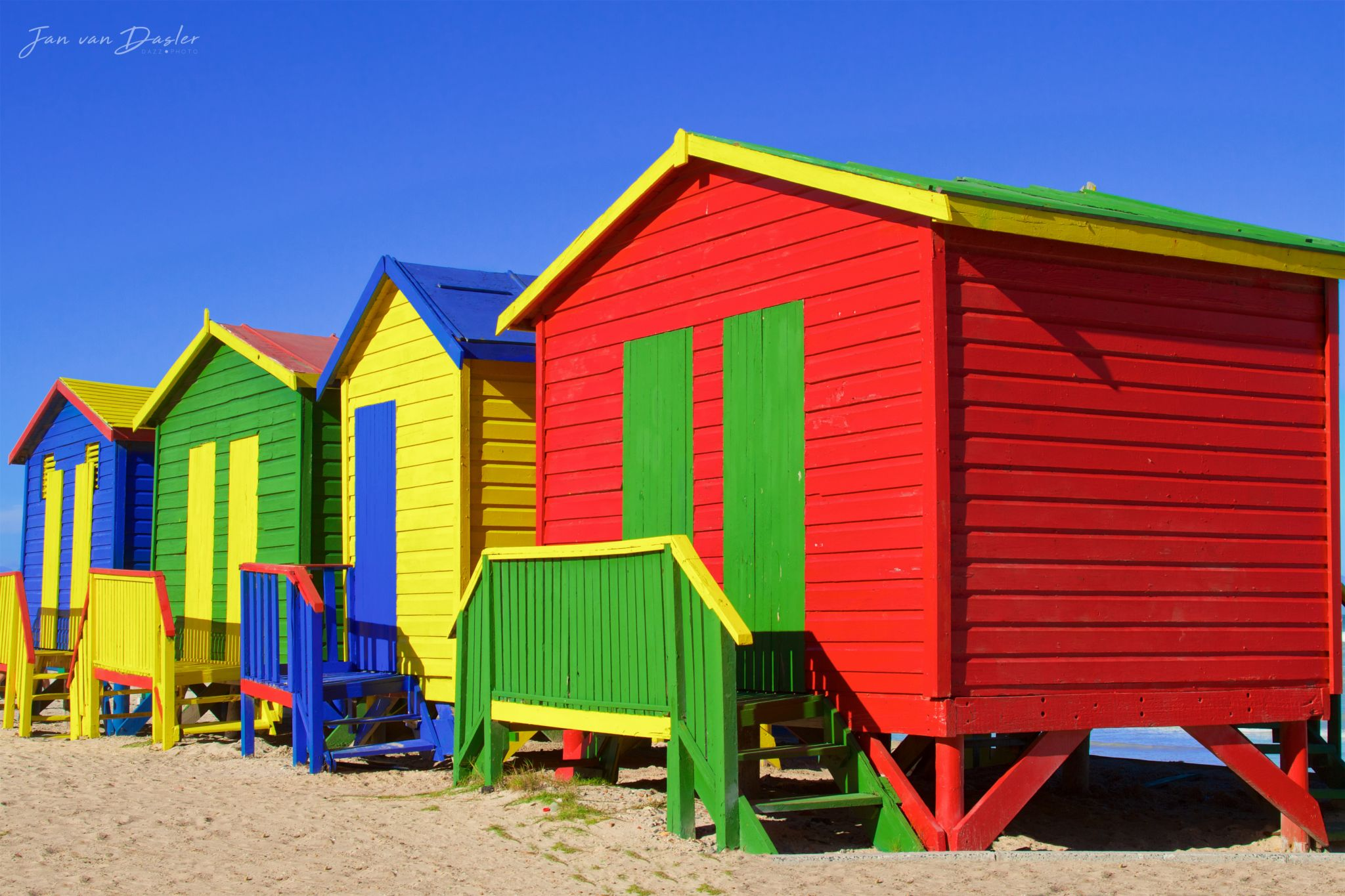 Colorful Muizenberg Beach Huts, South Africa