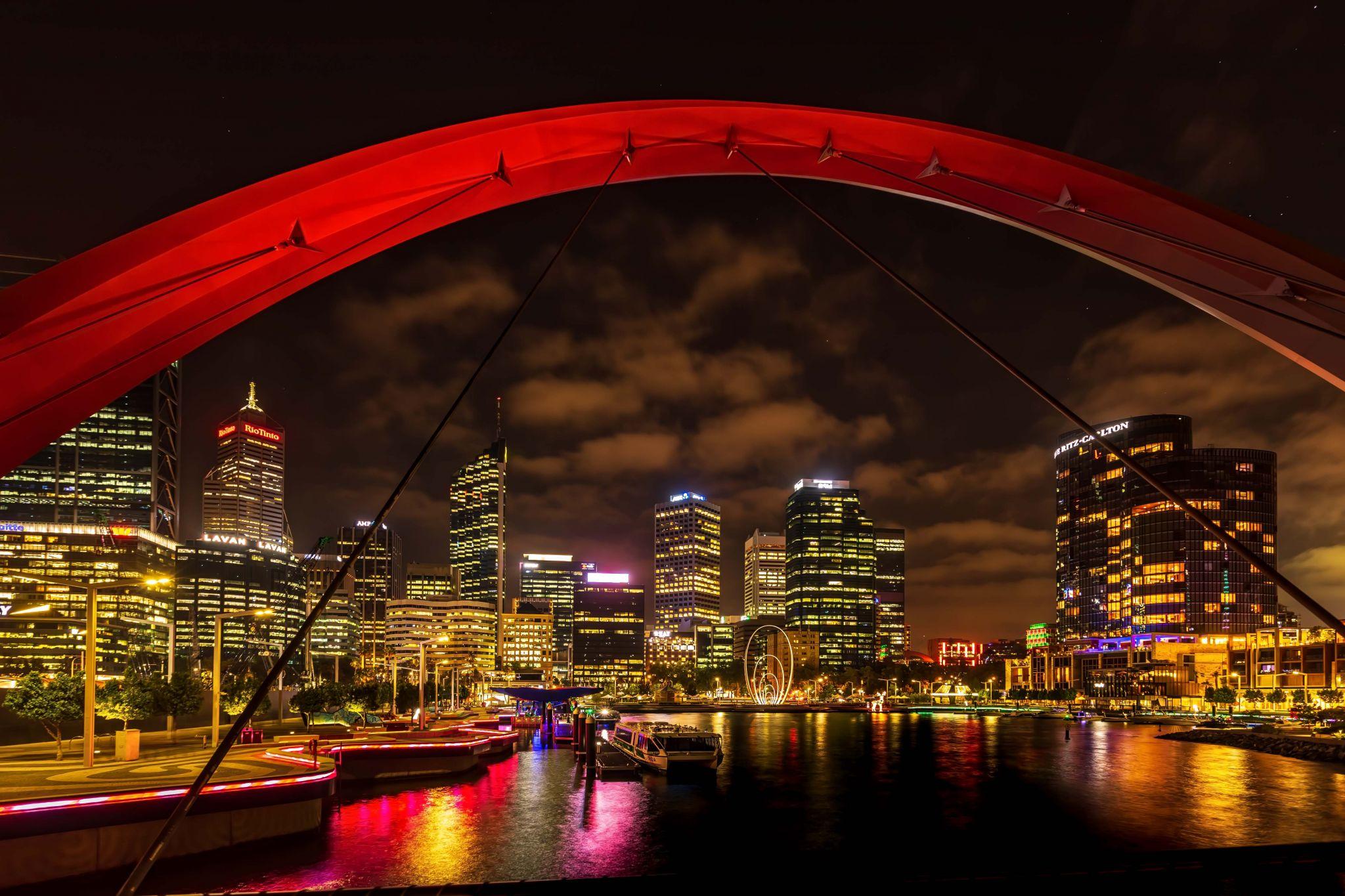 Elizabeth Quay bridge Perth Skyline, Western Australia, Australia