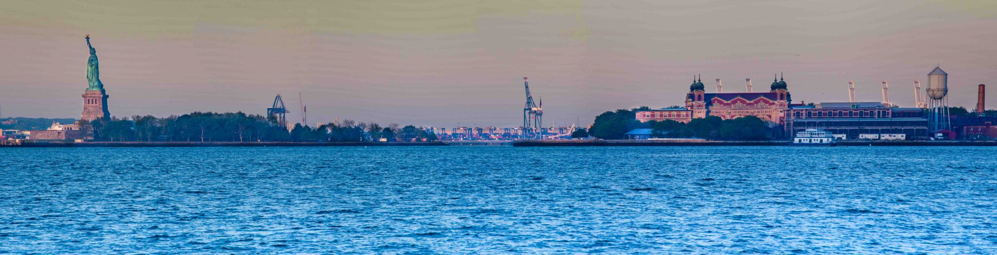 Ellis Island & Statue of Liberty Pano New York, USA