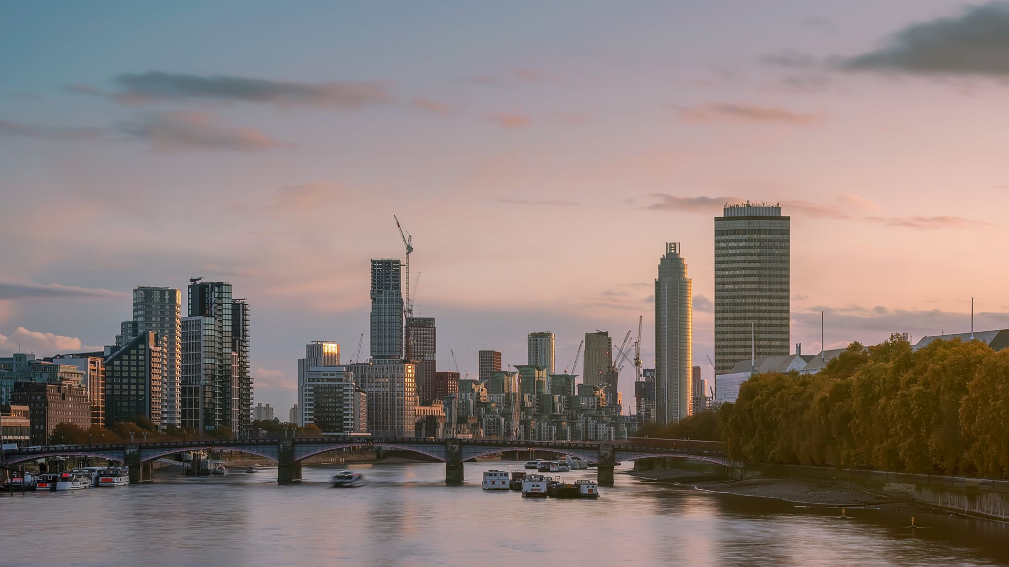 London Vauxhall cityscape from Westminster bridge, United Kingdom