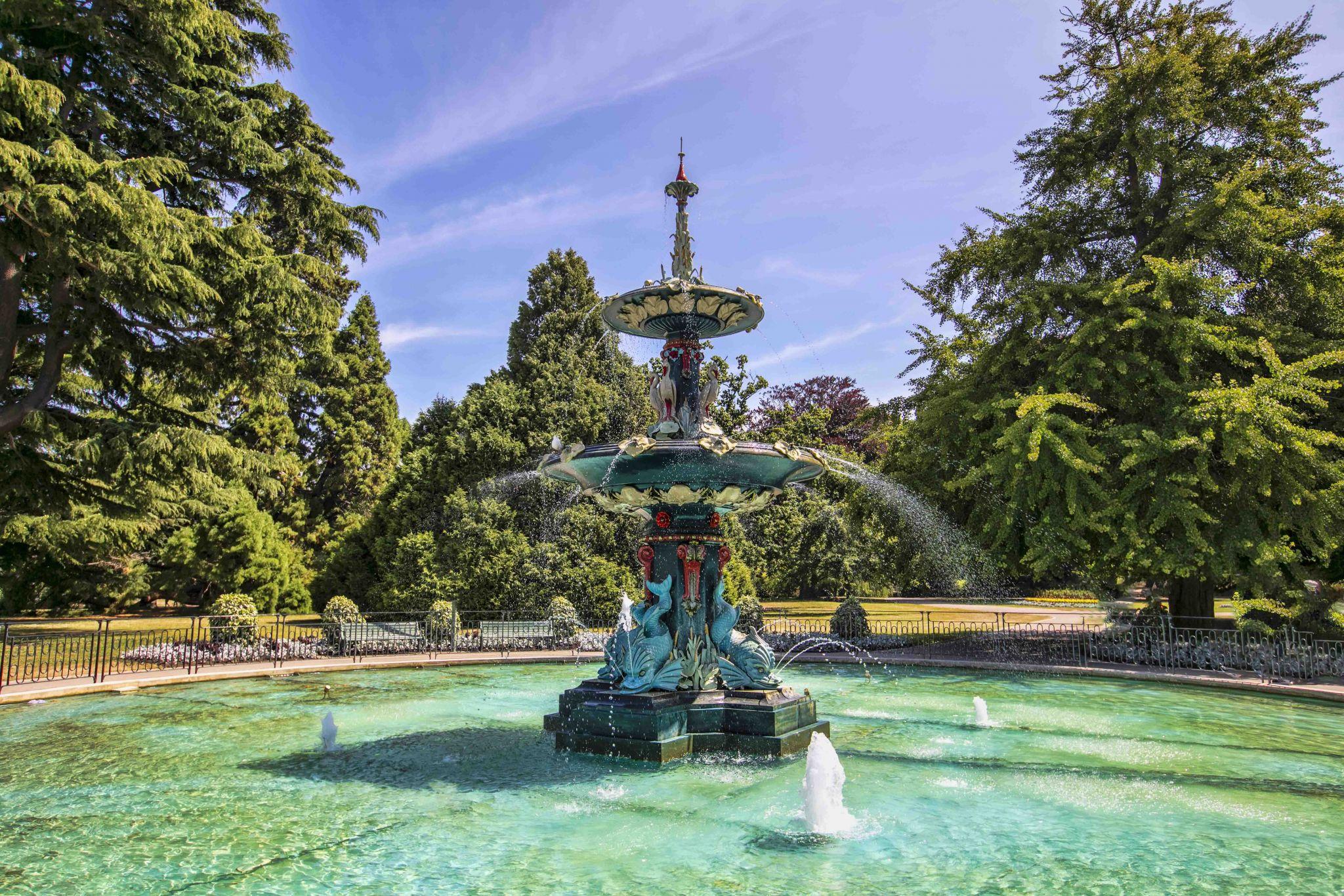Peacock Fountain at Christchurch Botanic Gardens, New Zealand