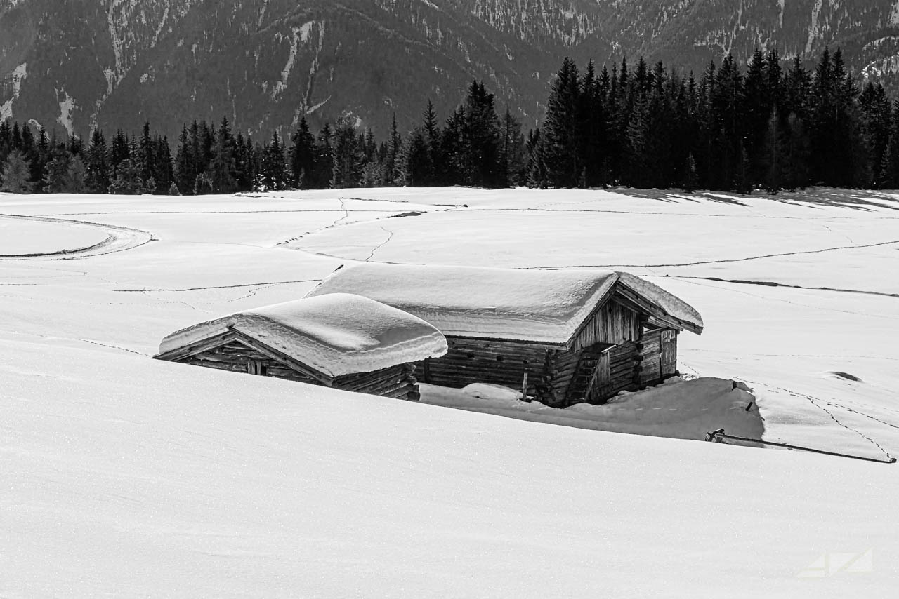 Rodenecker Alm under the snow, Italy