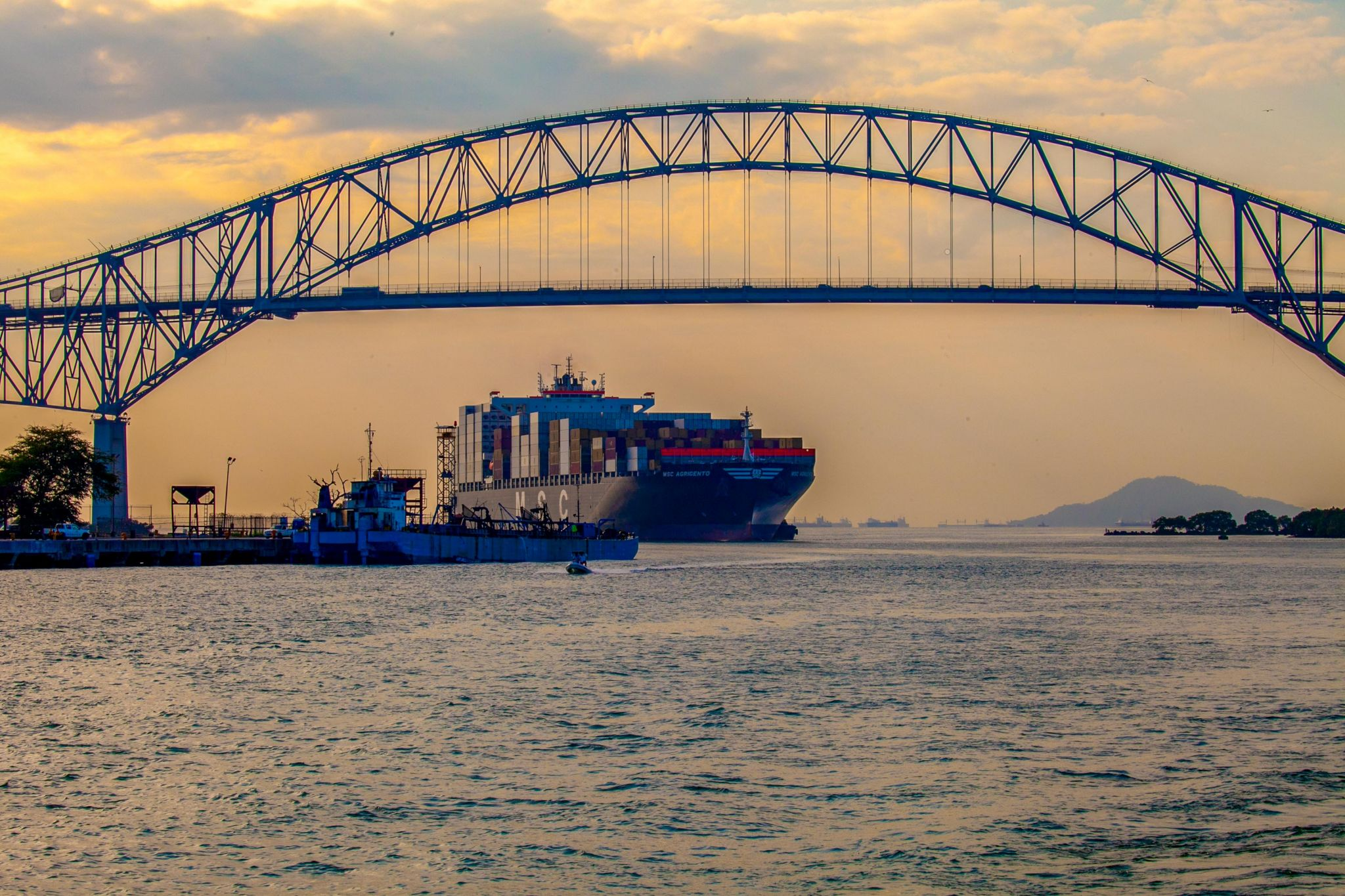 Ship about to enter Panama Canal, Panama