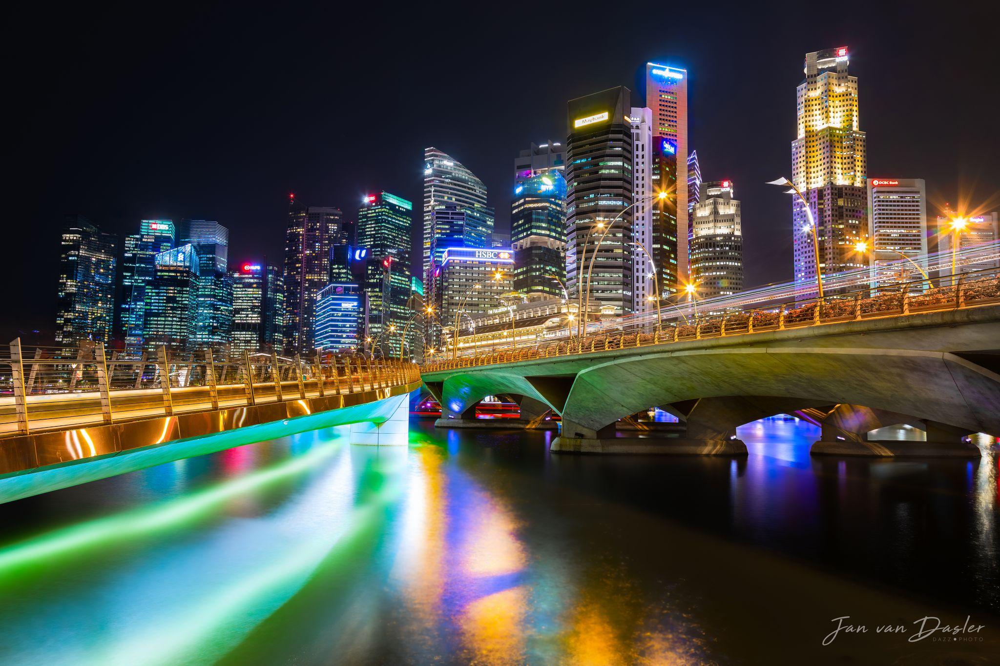 Singapore Skyline in between Jubilee and Esplanade Bridge, Singapore