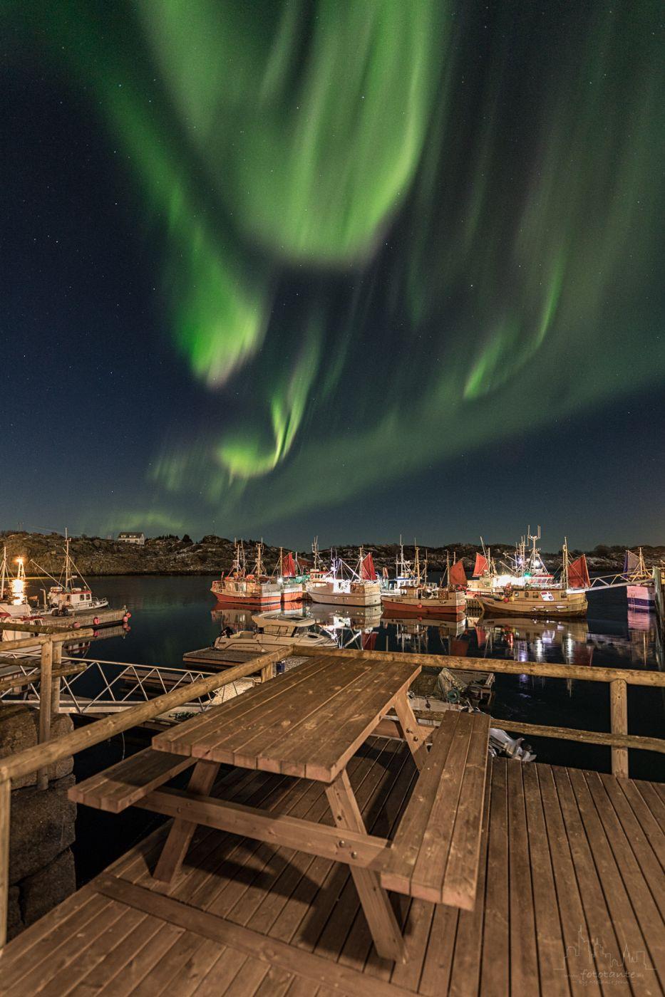 Stamsund Harbour - Northern Lights, Norway