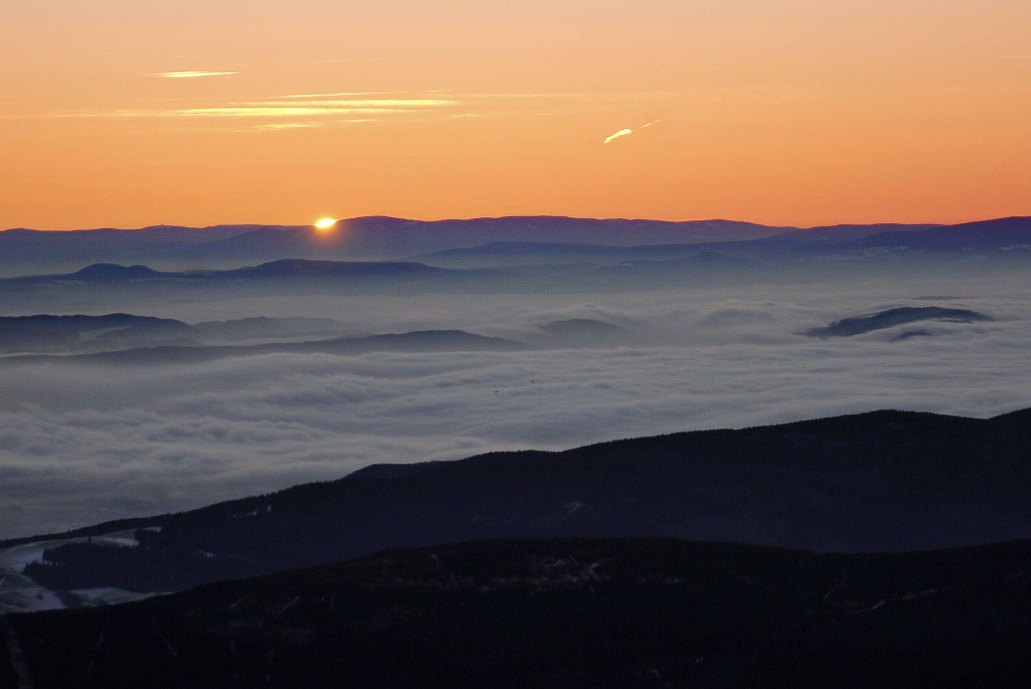 Sunrise from Snezka mountain, Poland