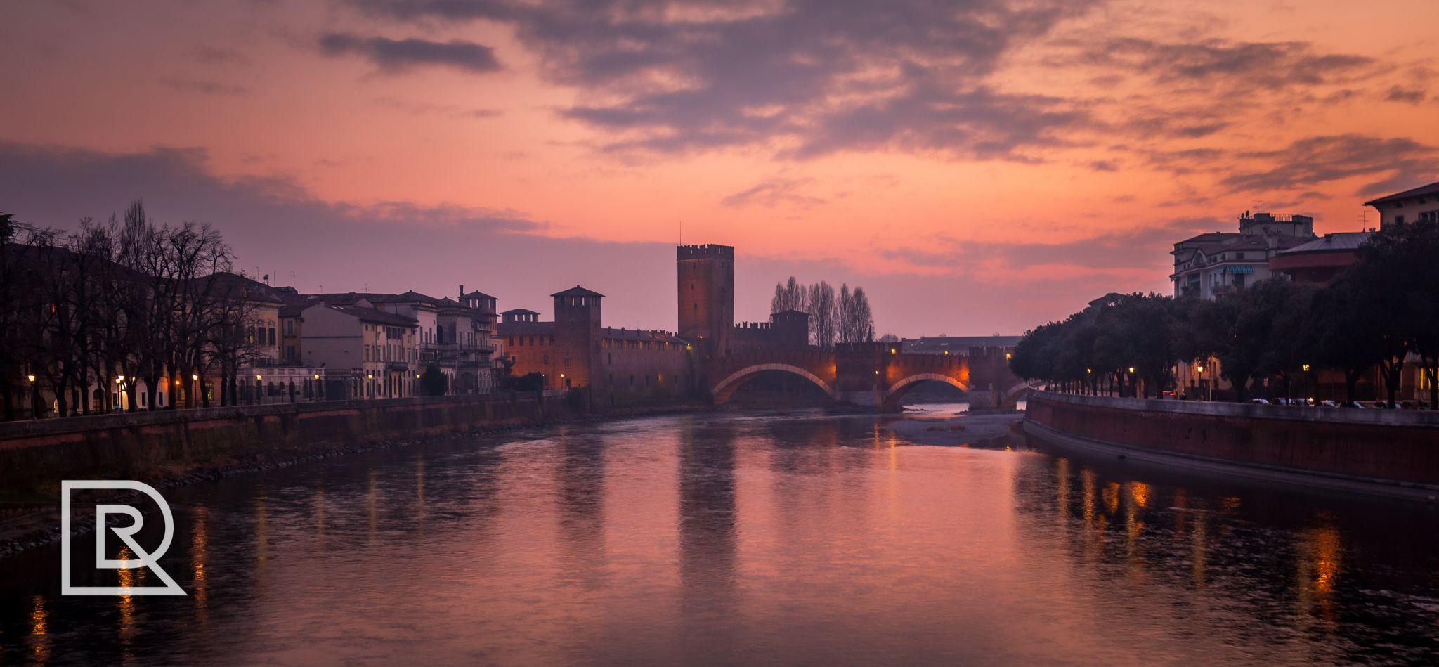 Sunset bridge, Italy