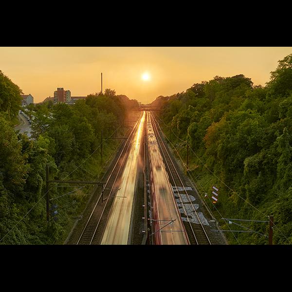 Valby station sunset, Denmark