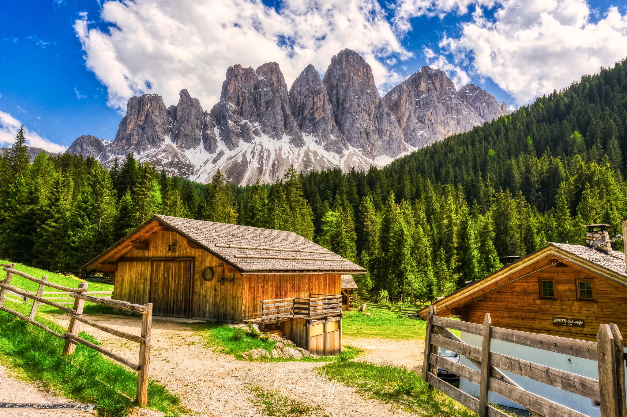 Geisler Summits from Zanser Alm, Italy