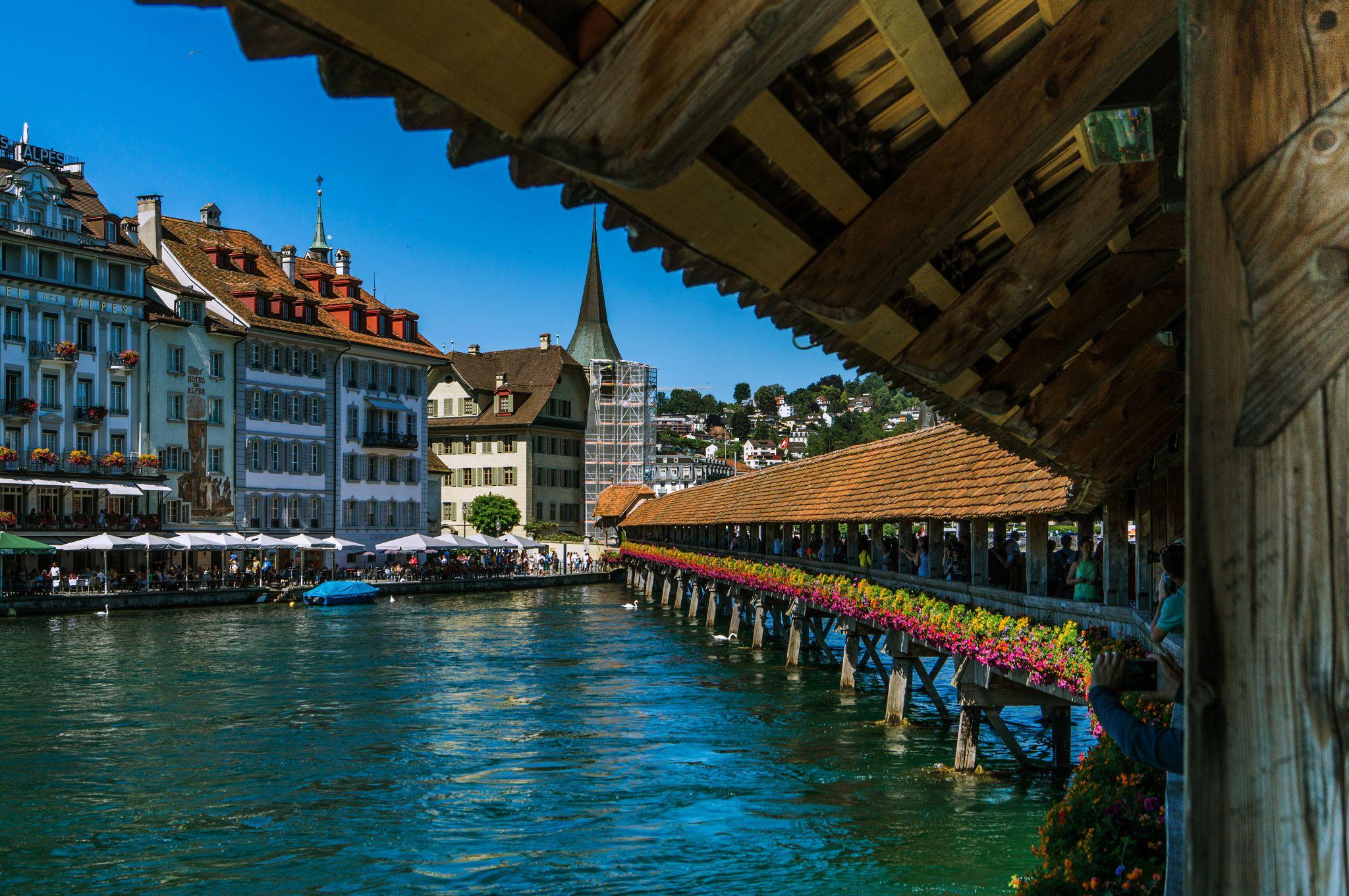 Kapellbridge Luzern, view outside, Switzerland