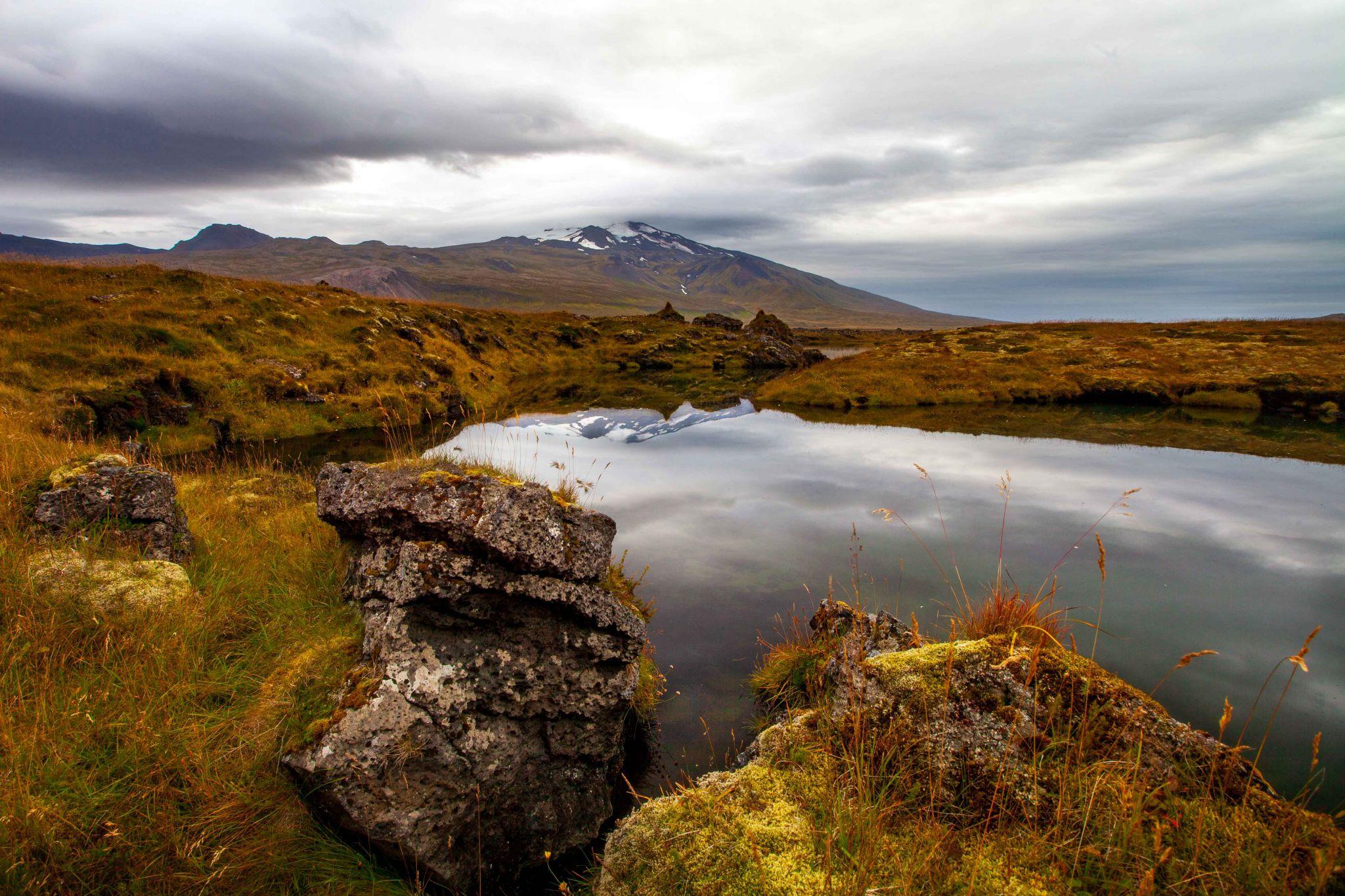 Lake near Dagverðará looking at Snaefelljokull Mountain, Iceland