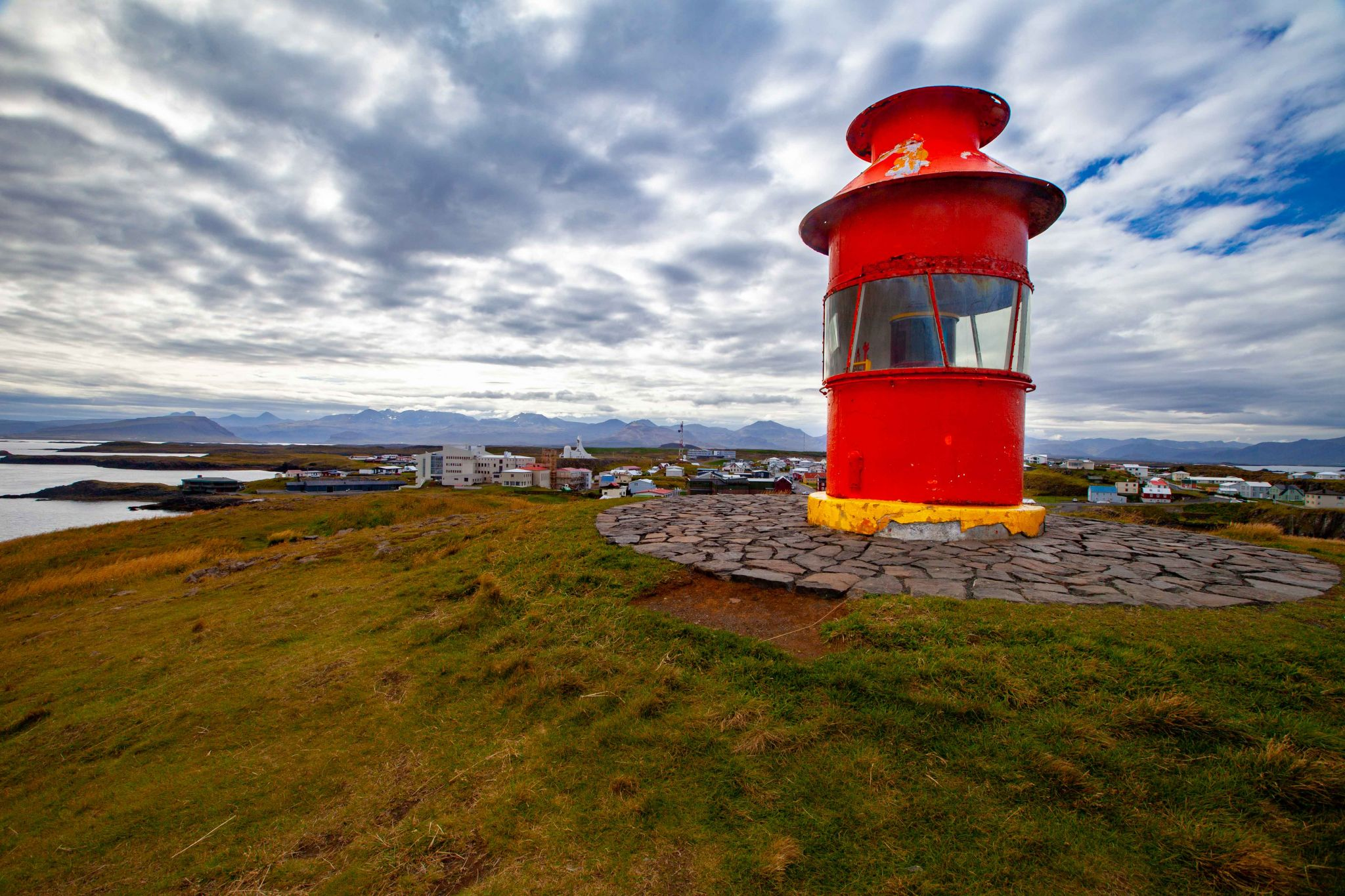 Lighthouse looking down on the town of Stykkishólmur, Iceland