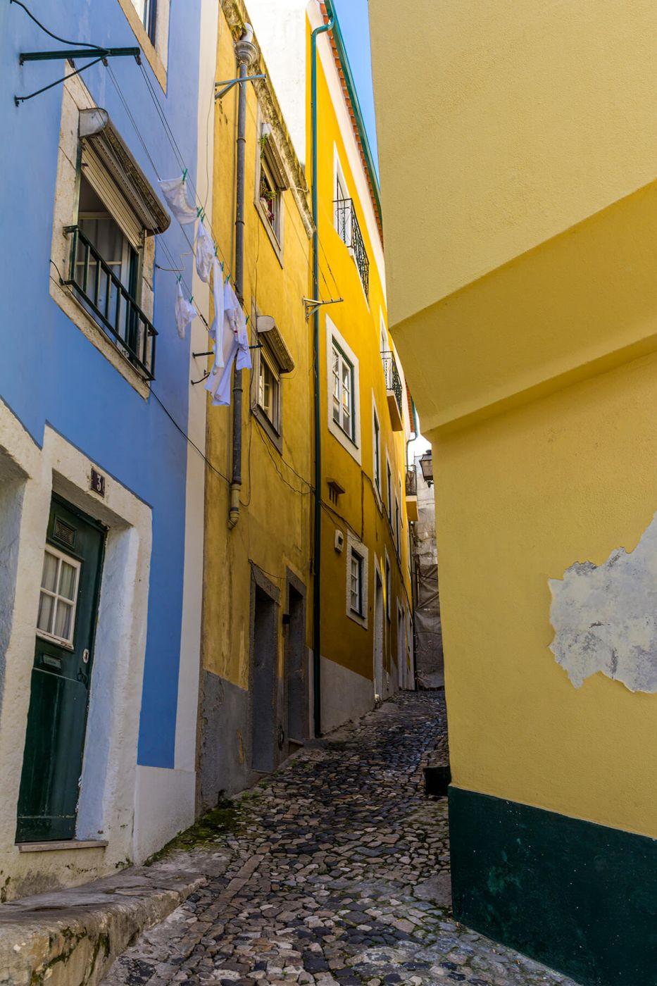 Narrow Alley in Lisbon's Alfama, Portugal