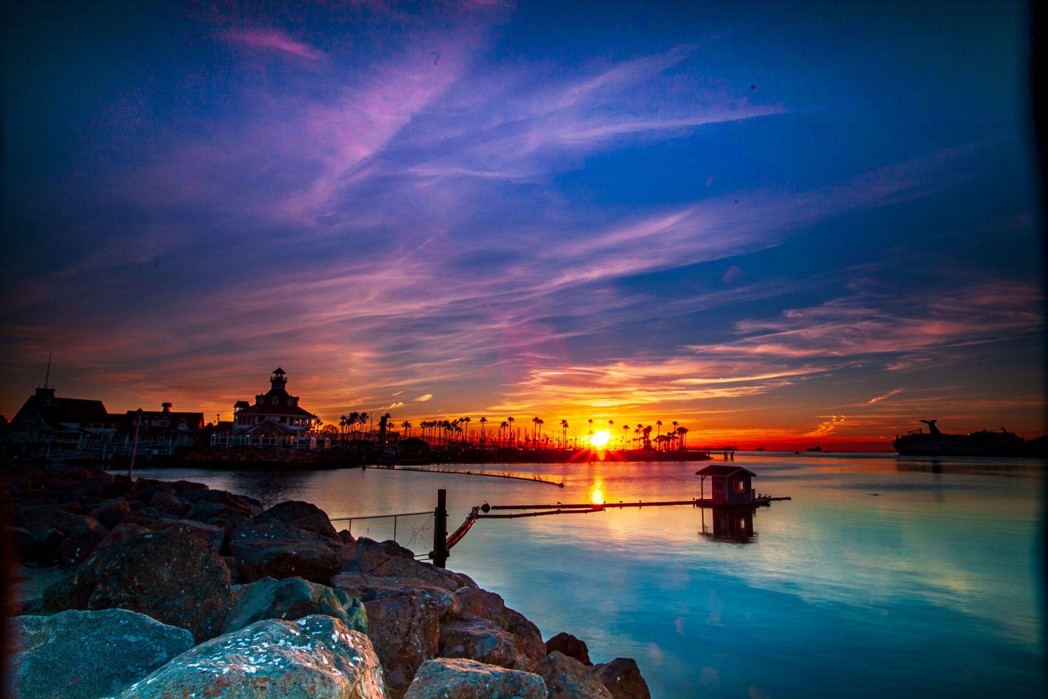 Parkers Lighthouse sunrise Long Beach, California, USA