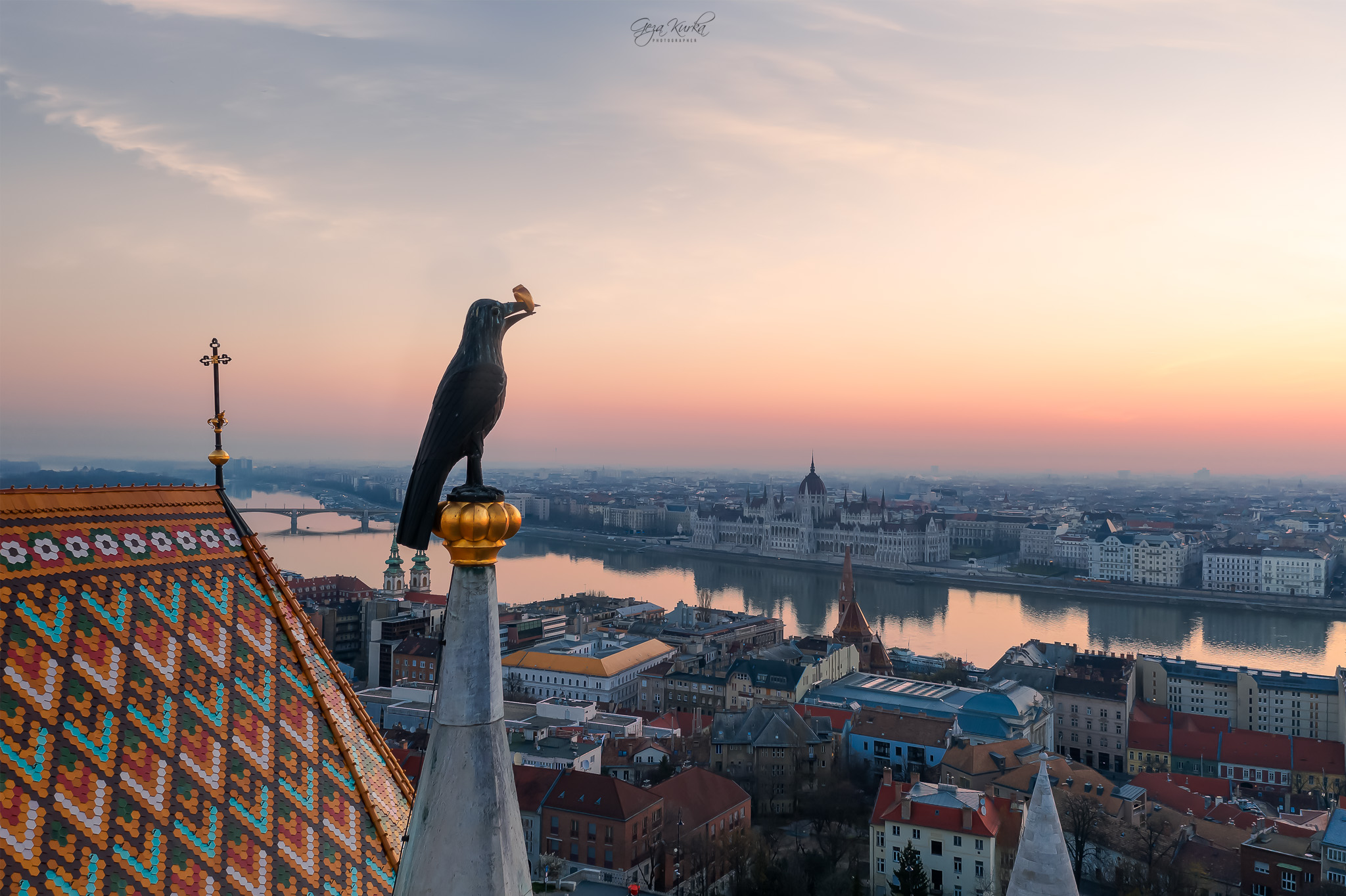 Raven with ring. Part of the Matthias Church, Hungary
