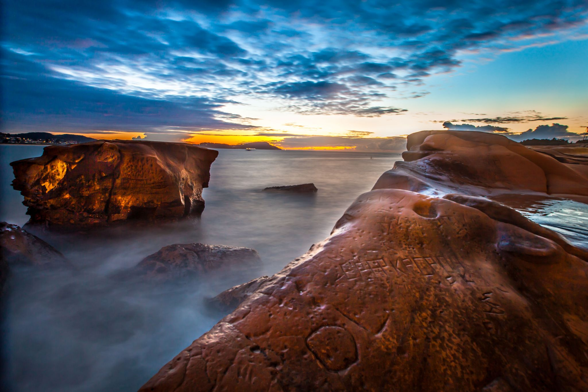 Rock sunrise Terrigal Beach, Central Coast New South Wales, Australia
