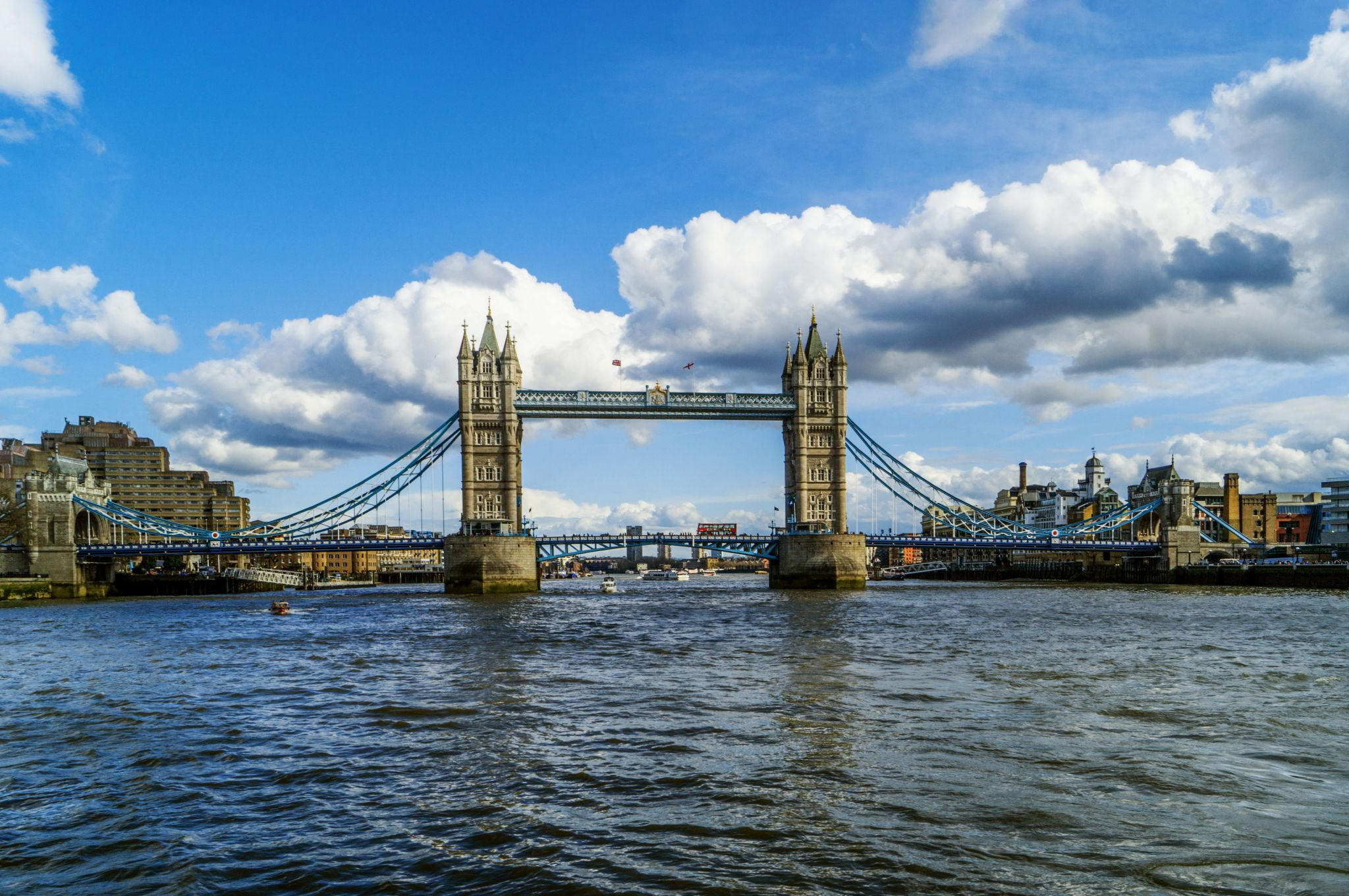 Tower and Tower Bridge, view from a boat, United Kingdom