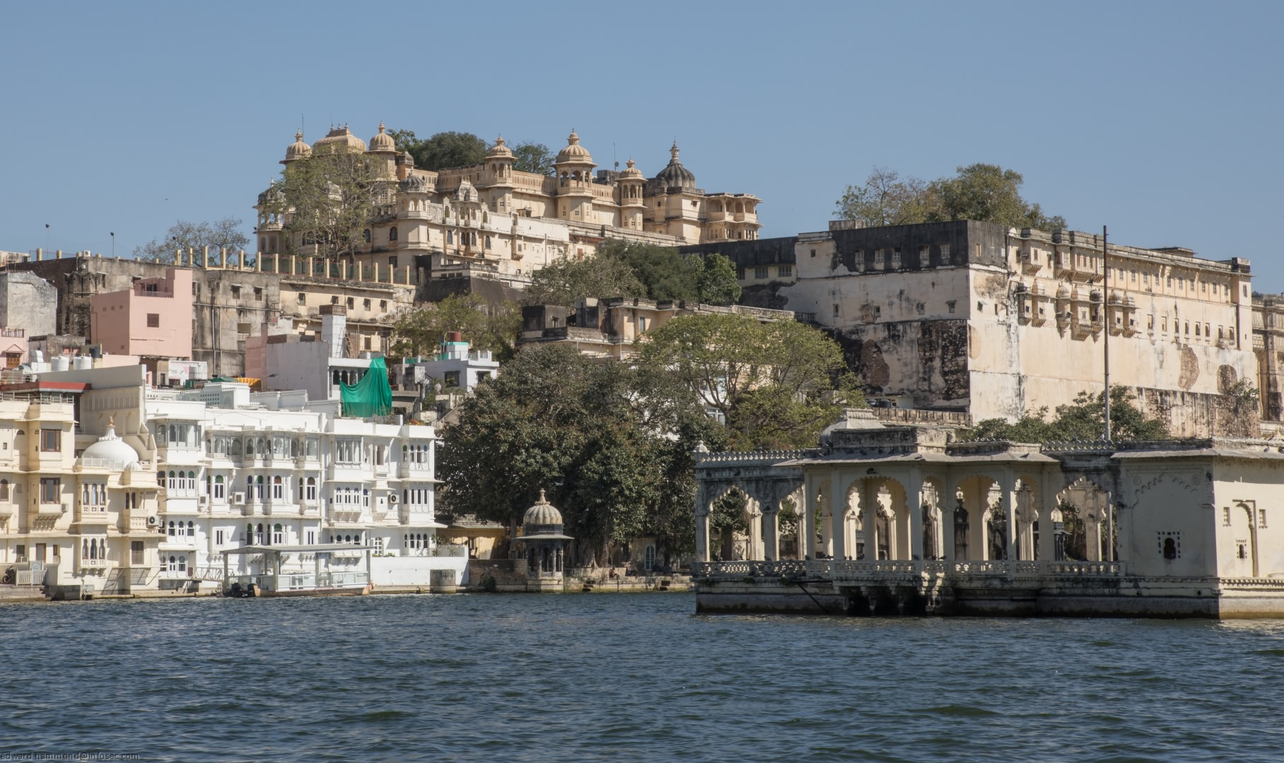 Udaipur City Palace from the water, India