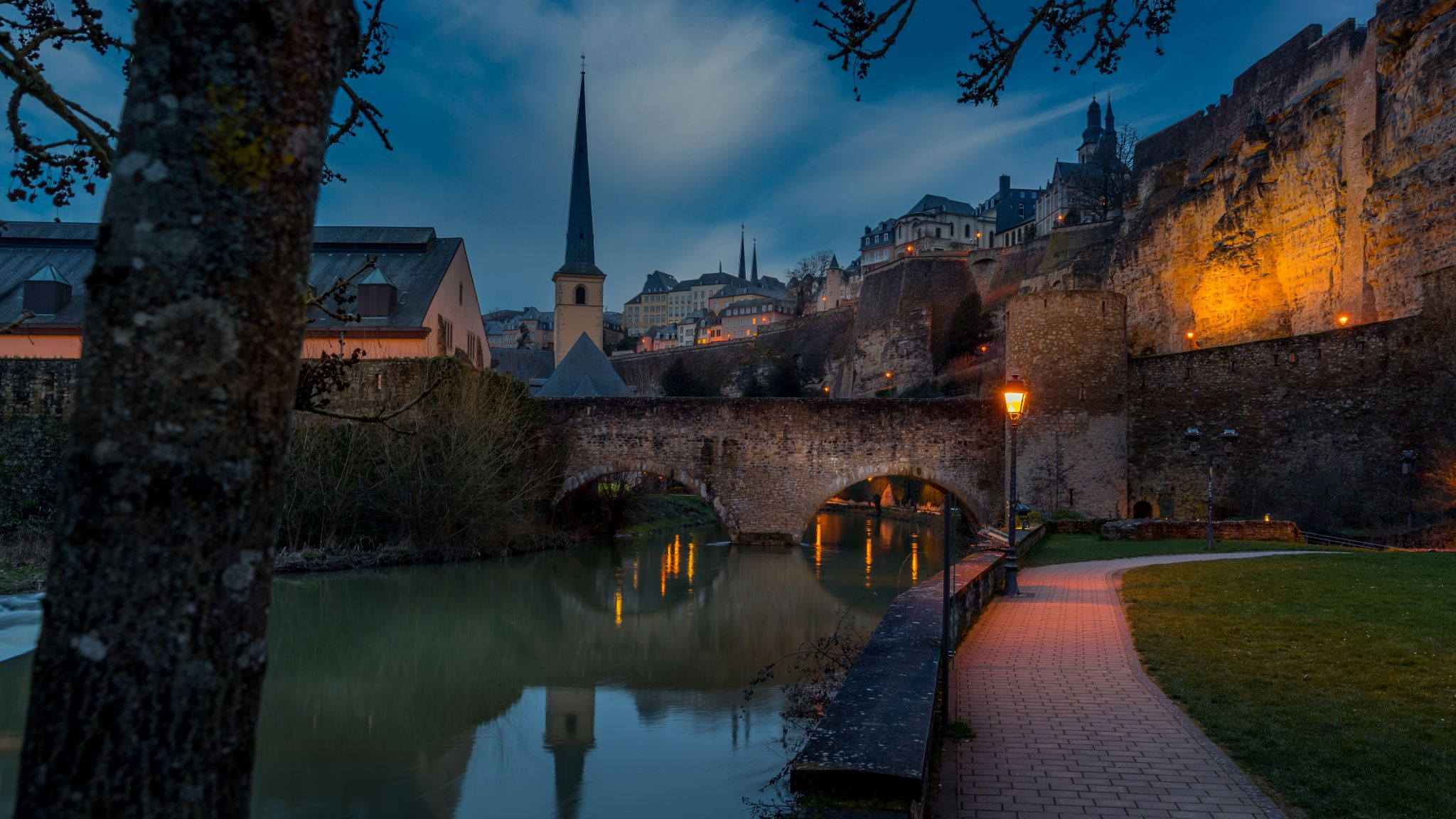 View to Stierchen Bridge and old town of Luxembourg, Luxembourg