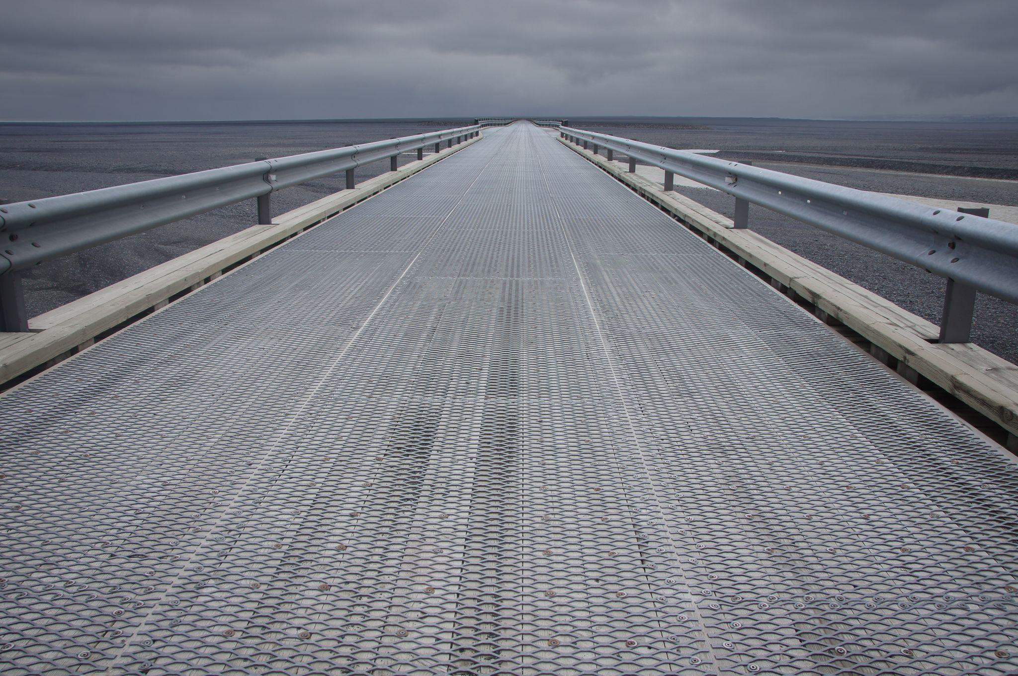 Bridge across Vatnajökull outwash plain, Iceland