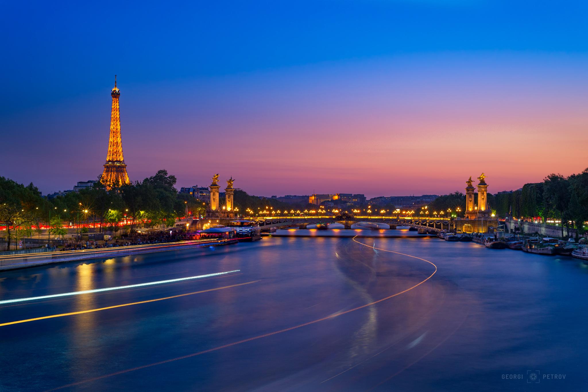 Eiffel Tower & Pont Alexandre III from Pont de la Concorde, France