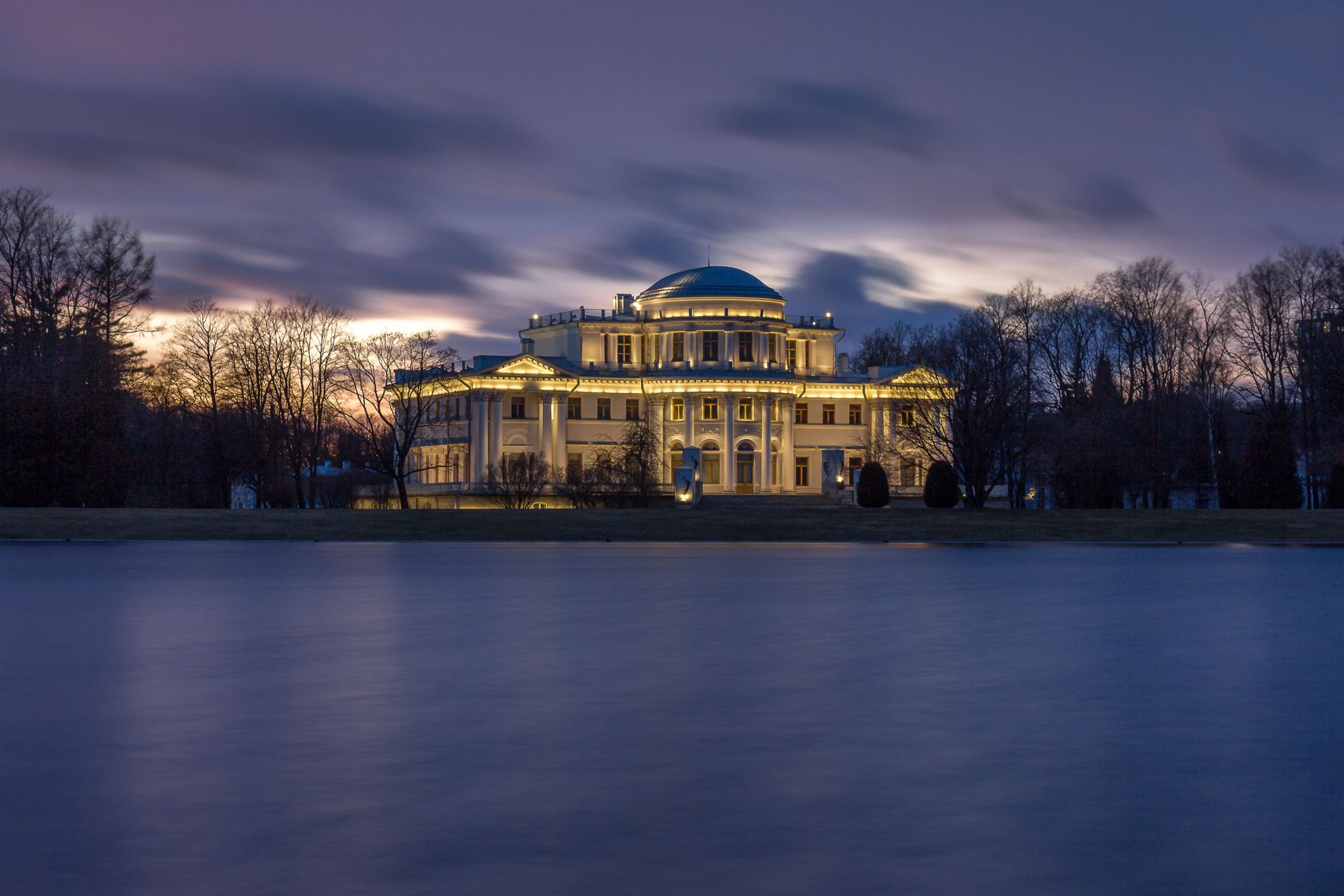 Elagin Palace in St. Petersburg at the Neva River Delta, Russian Federation
