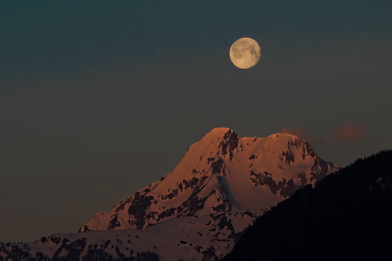 Grand Chavalard mountain with supermoon, Switzerland